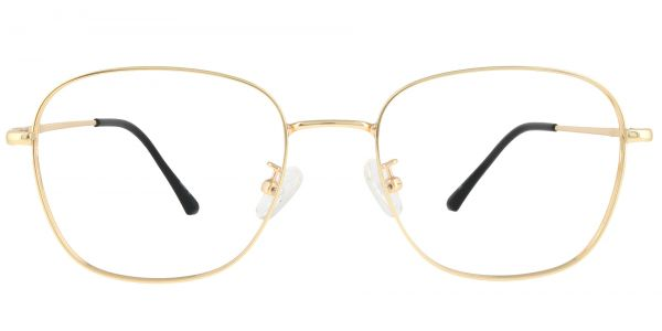 Fresno Square Prescription Glasses - Gold