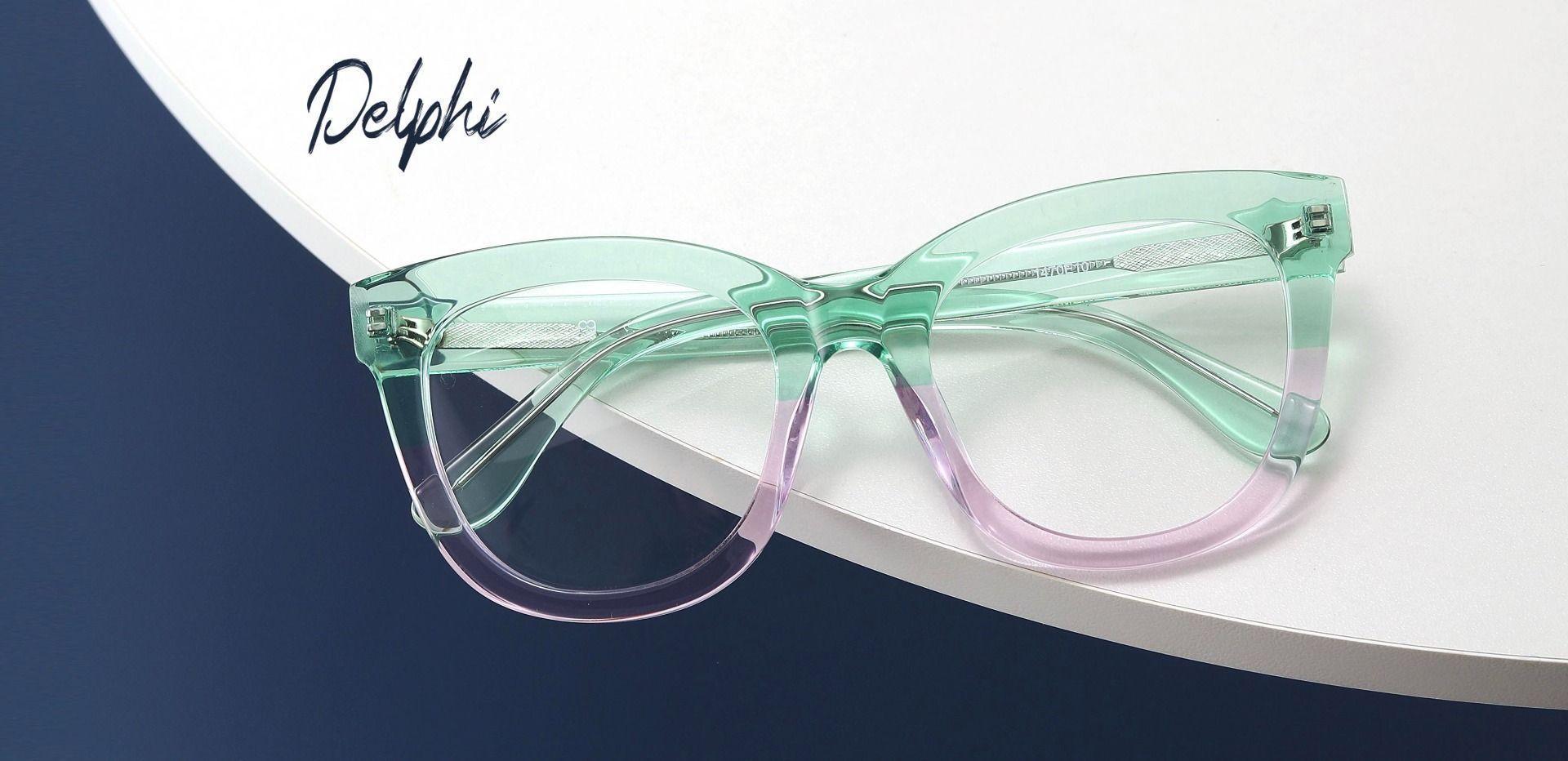 Delphi Square Prescription Glasses - Green