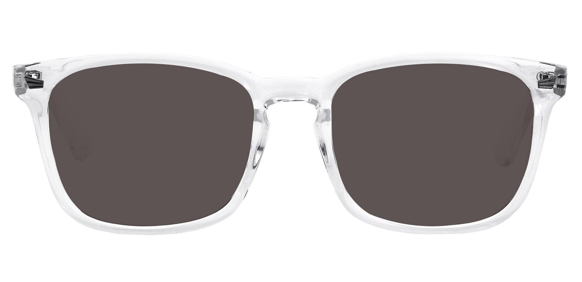 Rogan Square Progressive Sunglasses - Clear Frame With Gray Lenses