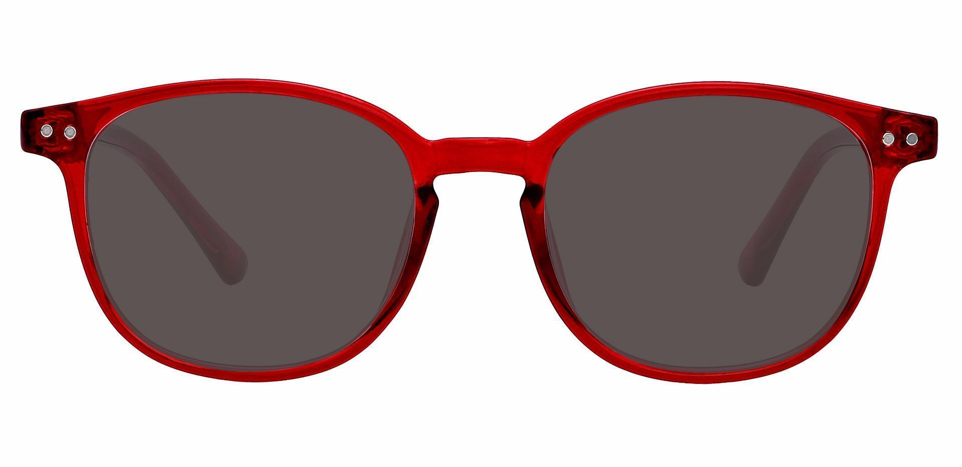 Holstein Oval Prescription Sunglasses - Red Frame With Gray Lenses
