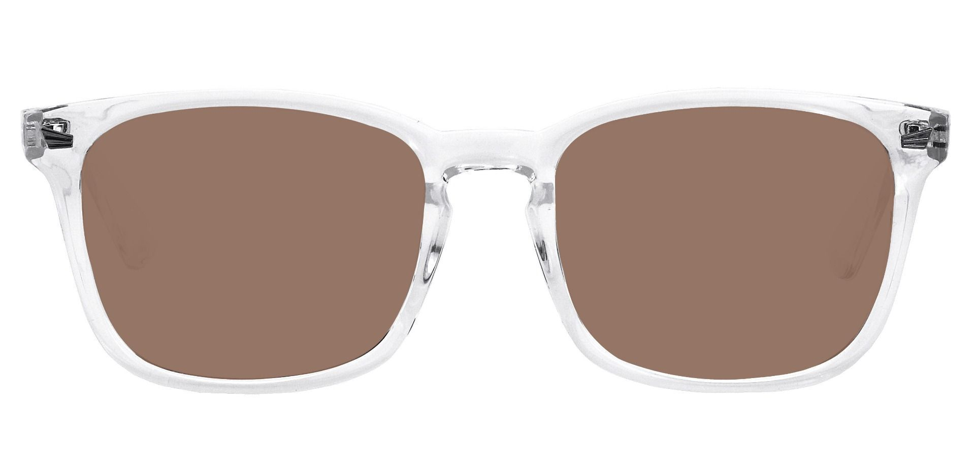 Rogan Square Reading Sunglasses - Clear Frame With Brown Lenses