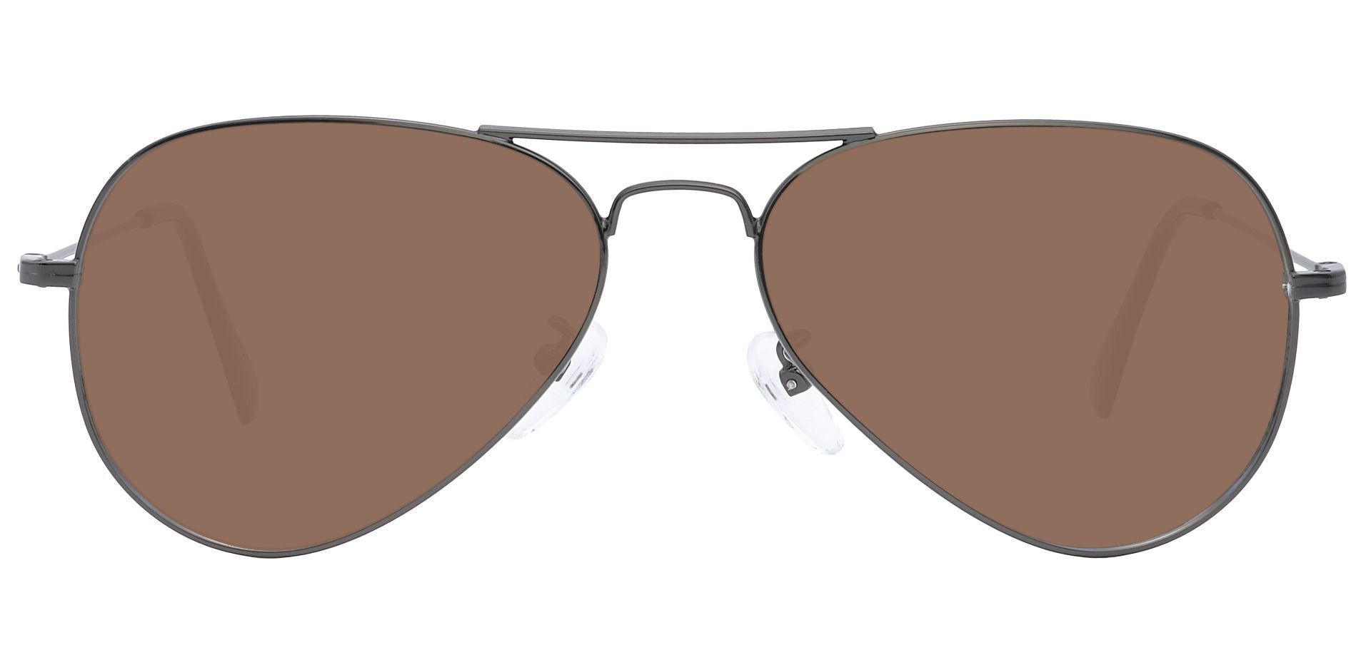 Memphis Aviator Single Vision Sunglasses - Gray Frame With Brown Lenses