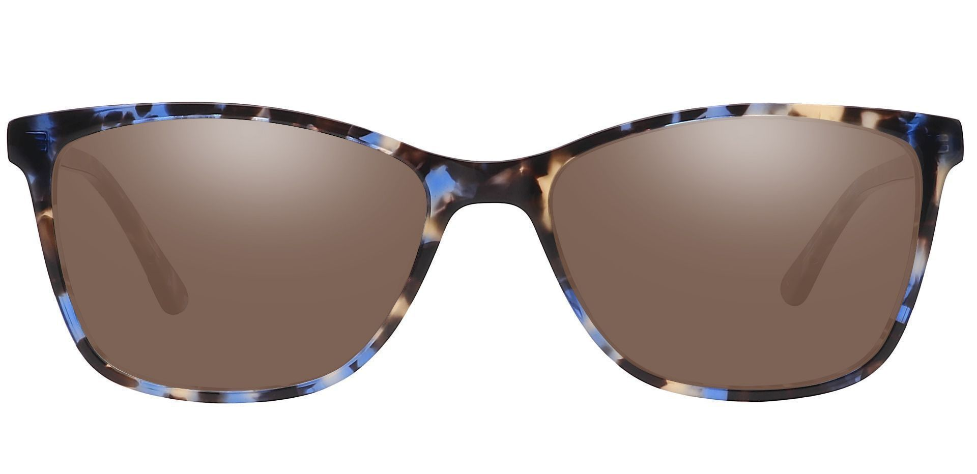 Antonia Square Prescription Sunglasses - Black Frame With Brown Lenses