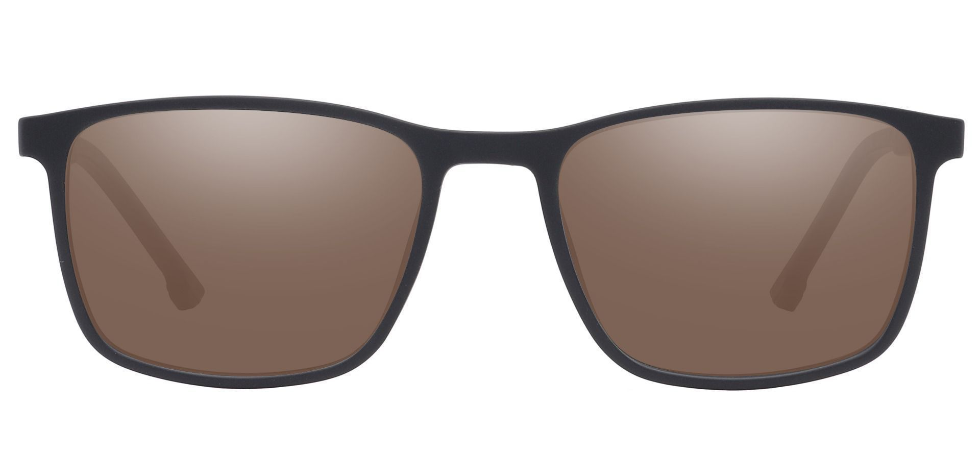 Franklin Rectangle Prescription Sunglasses - Black Frame With Brown Lenses
