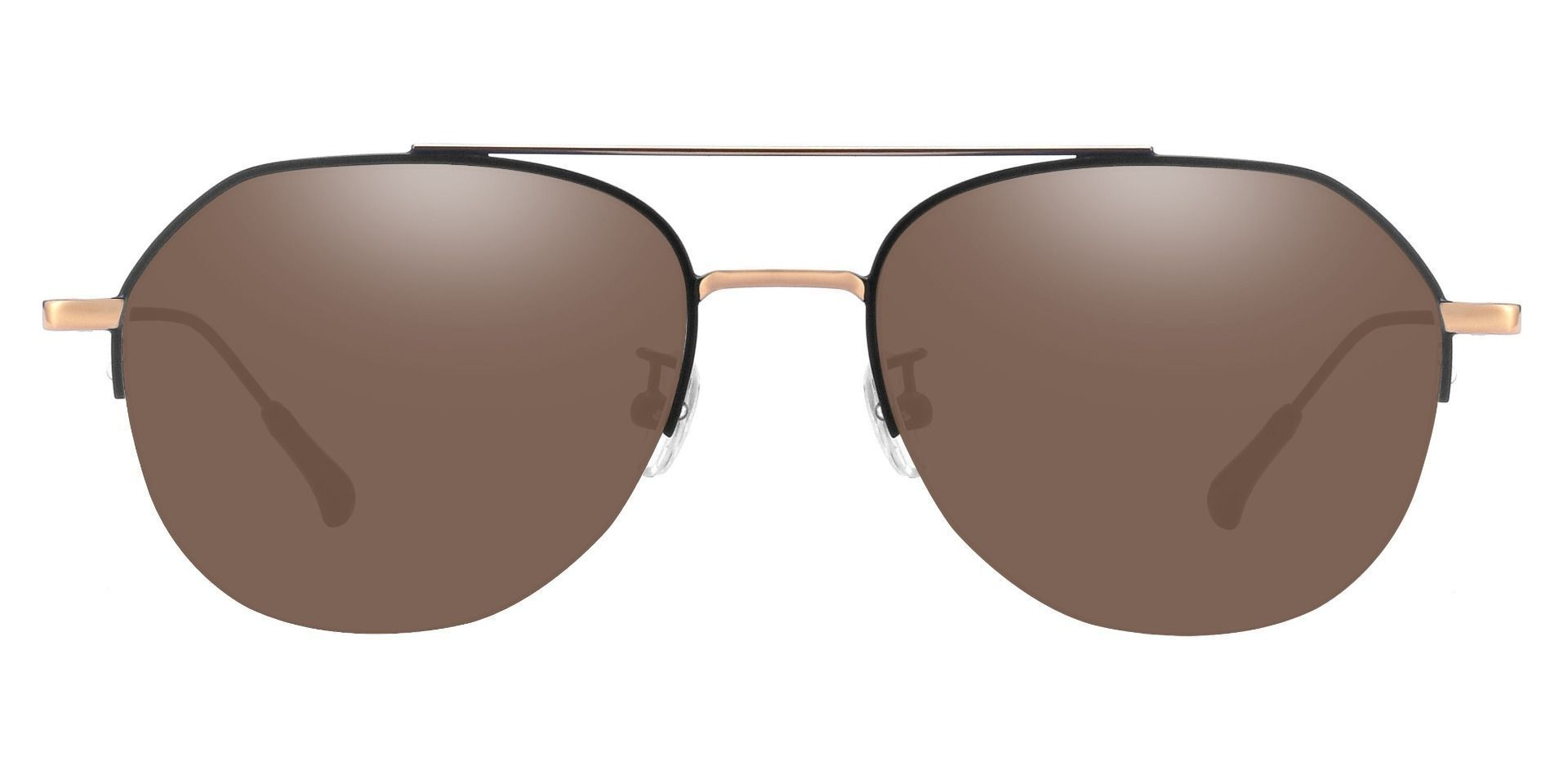Porter Aviator Prescription Sunglasses -  Black Frame With Brown Lenses