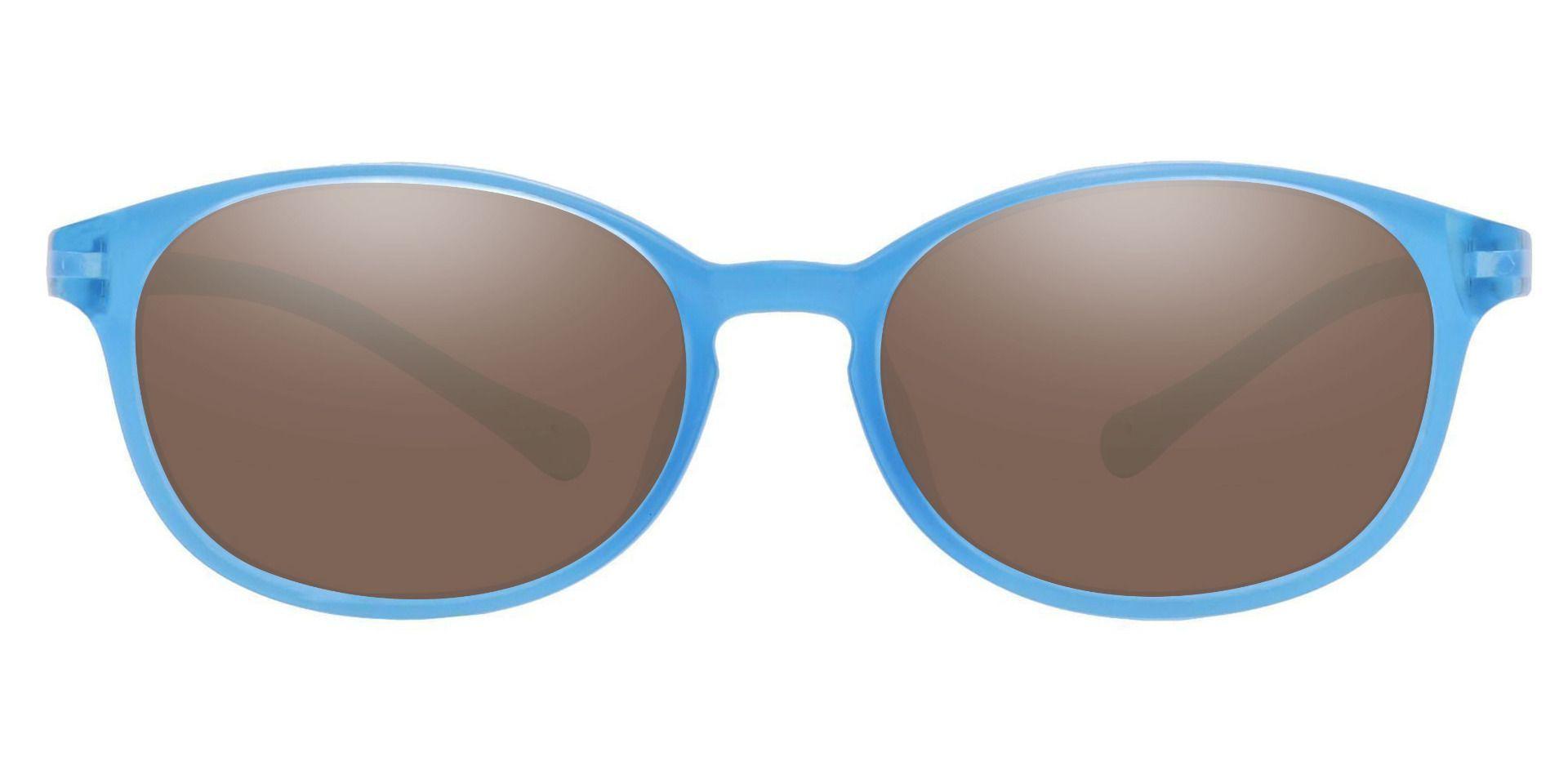 Sapphire Oval Prescription Sunglasses - Blue Frame With Brown Lenses