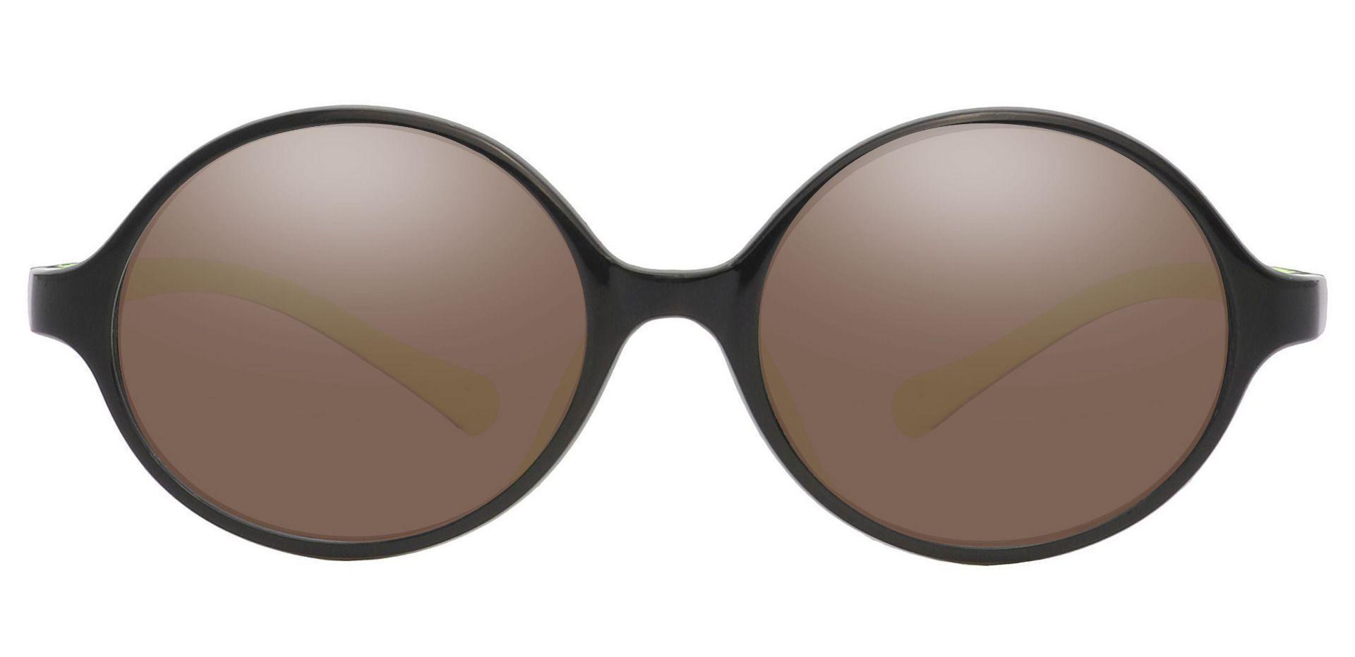 Dagwood Round Prescription Sunglasses - Black Frame With Brown Lenses