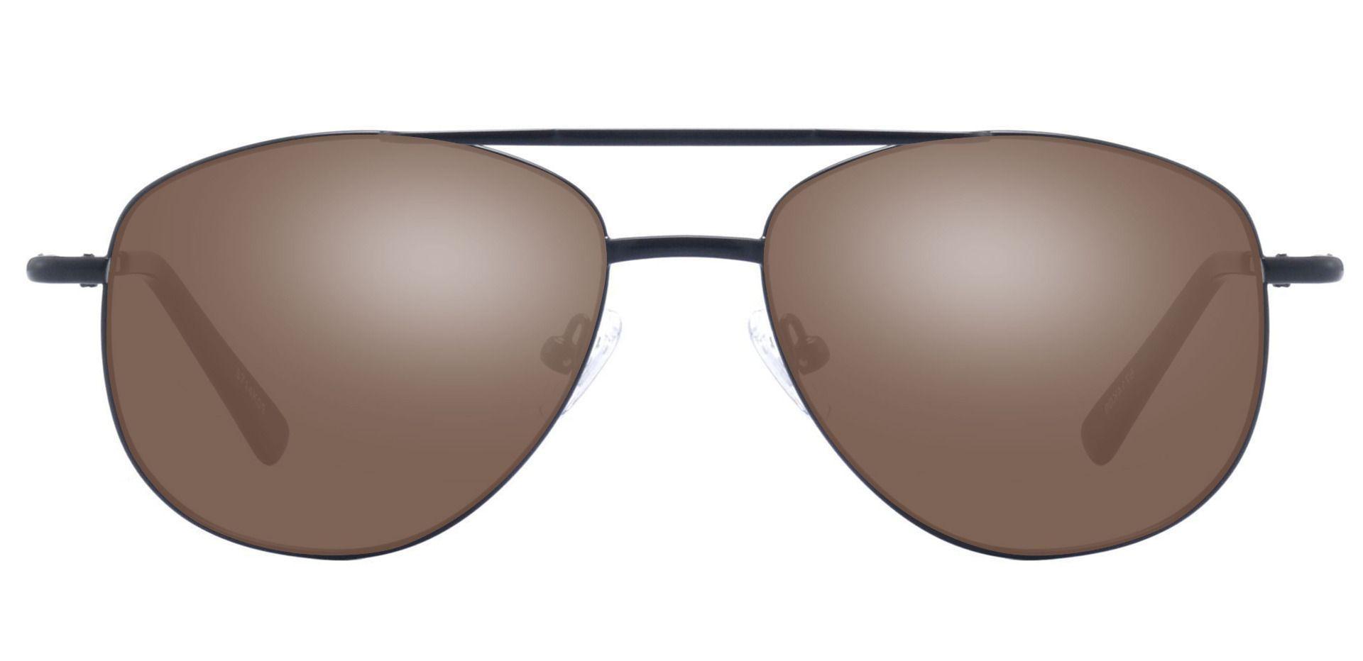Dwight Aviator Prescription Sunglasses - Black Frame With Brown Lenses