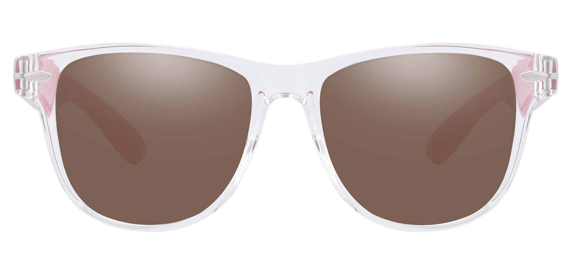 Radio Square Prescription Sunglasses - Clear Frame With Brown Lenses