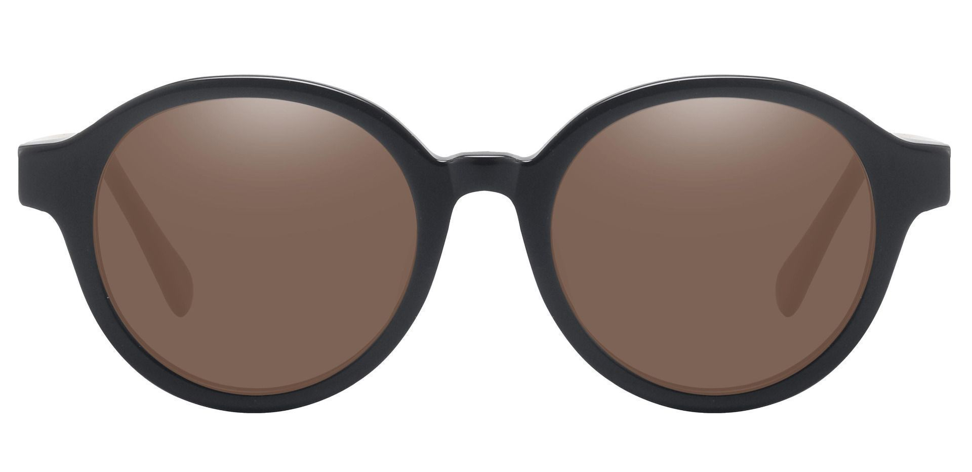 Steel City Round Reading Sunglasses - Black Frame With Brown Lenses