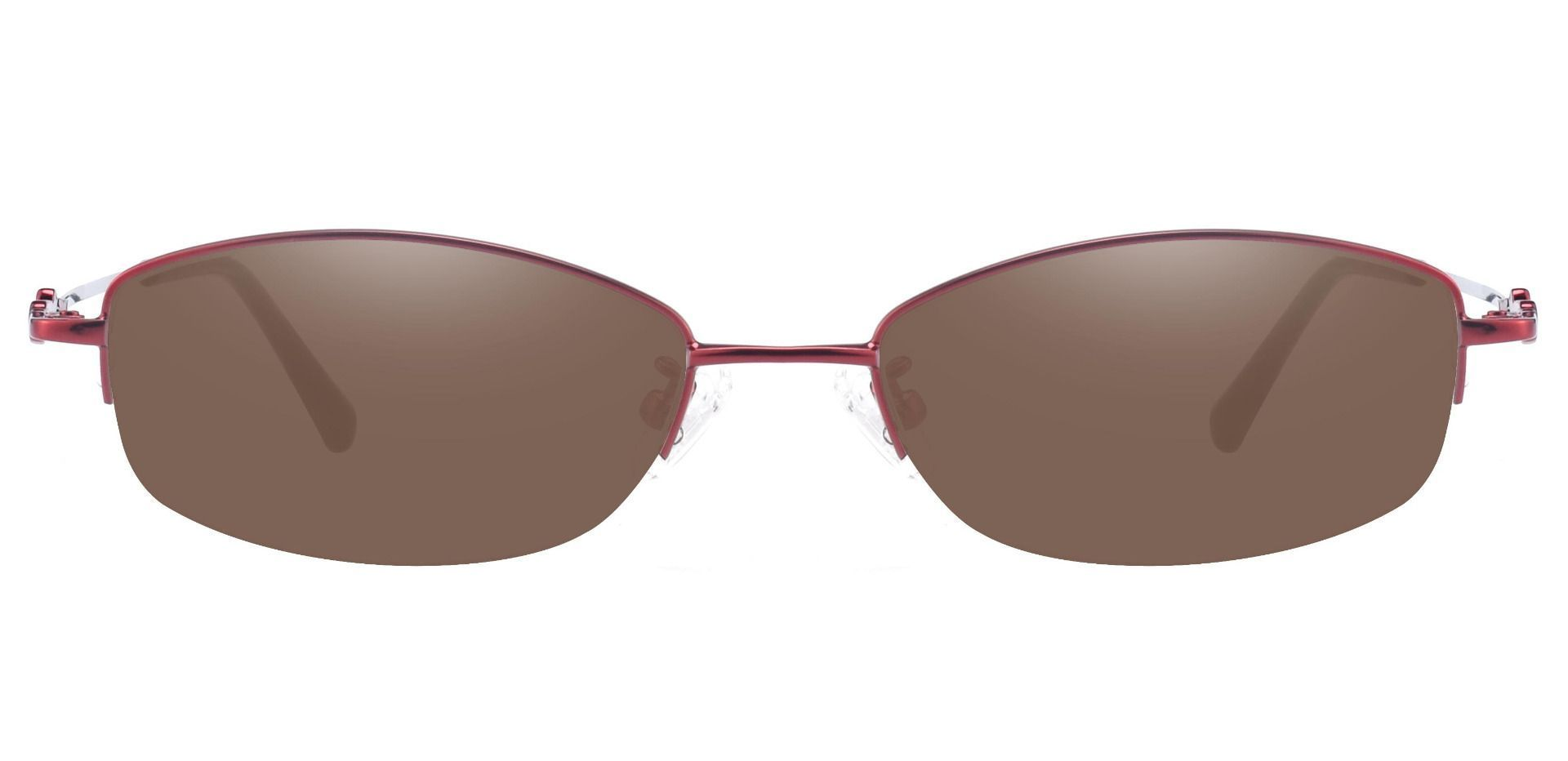 Meadowsweet Oval Non-Rx Sunglasses - Red Frame With Brown Lenses