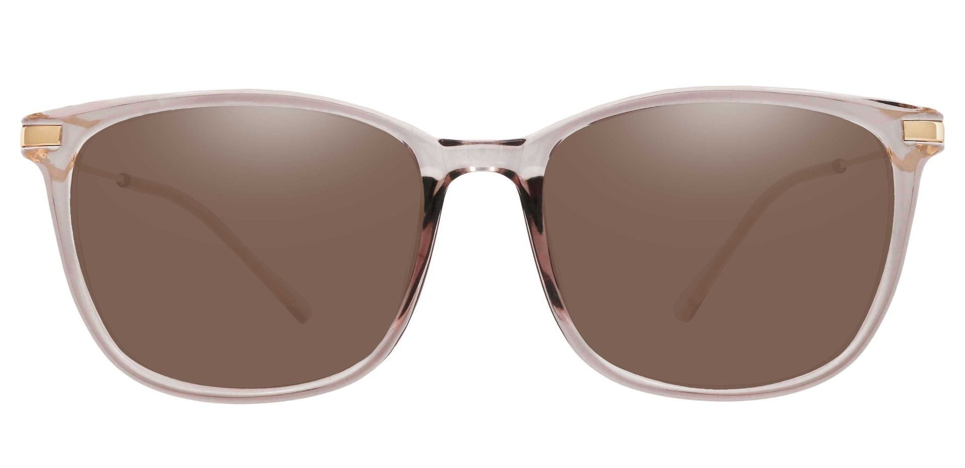 Katie square Prescription Sunglasses - Clear Frame With Brown Lenses