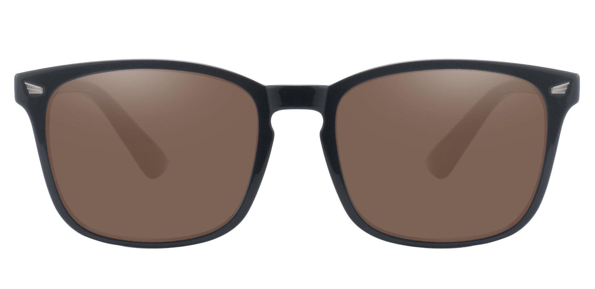 Rogan Square Prescription Sunglasses - Black Frame With Brown Lenses