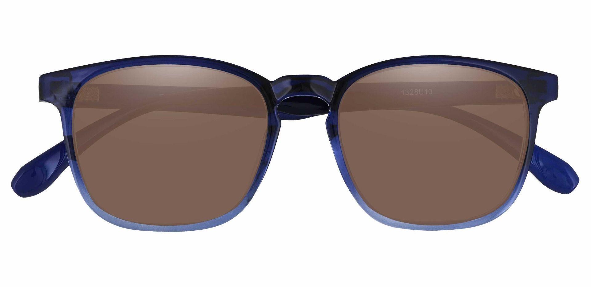 Dusk Classic Square Prescription Sunglasses - Blue Frame With Brown Lenses