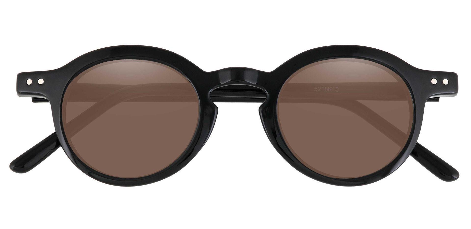 Moonshine Round Prescription Sunglasses - Black Frame With Brown Lenses