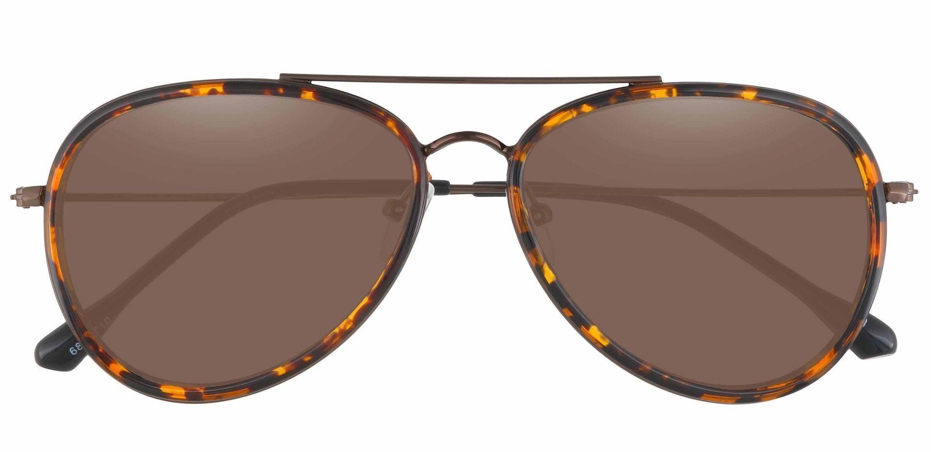 The King Aviator Single Vision Sunglasses - Tortoise Frame With Brown Lenses