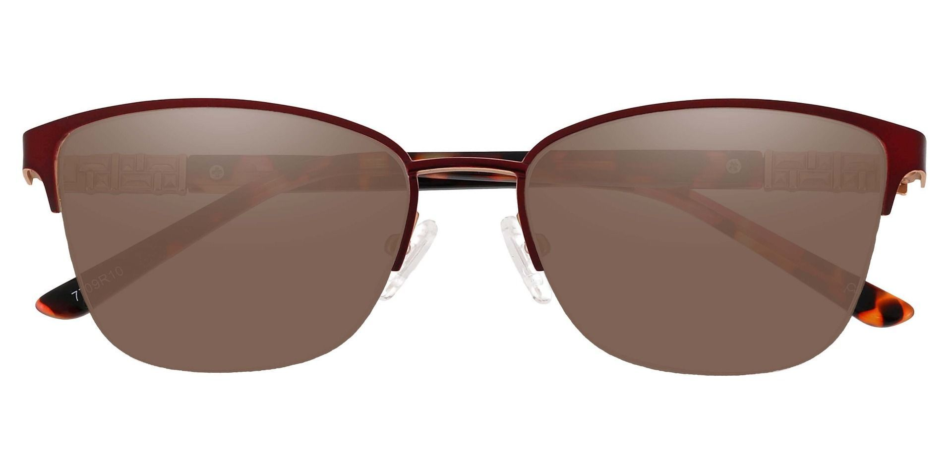 Ballad Cat Eye Lined Bifocal Sunglasses - Red Frame With Brown Lenses