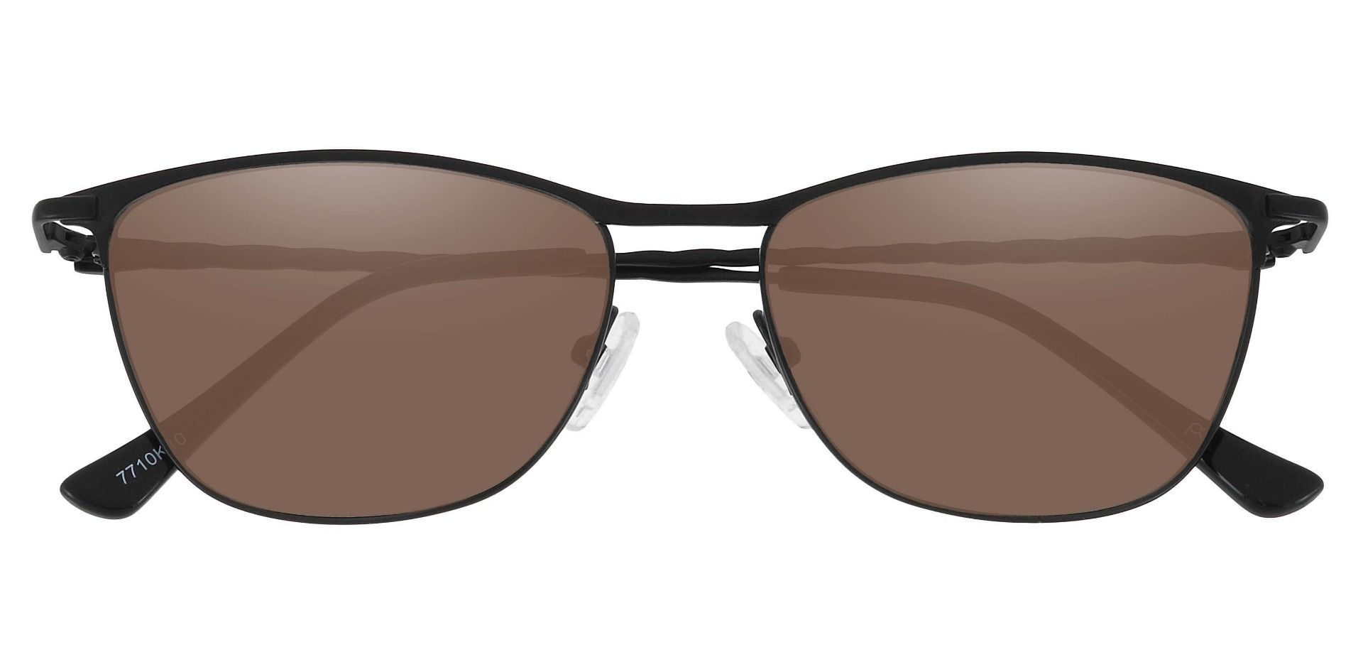 Andrea Cat Eye Prescription Sunglasses - Black Frame With Brown Lenses
