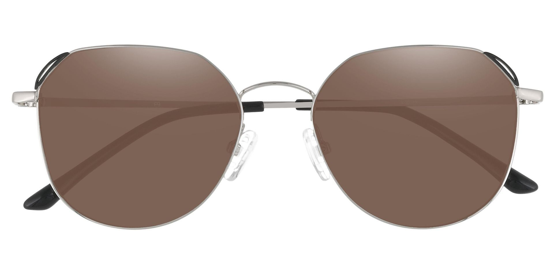 Figaro Geometric Prescription Sunglasses - Silver Frame With Brown Lenses