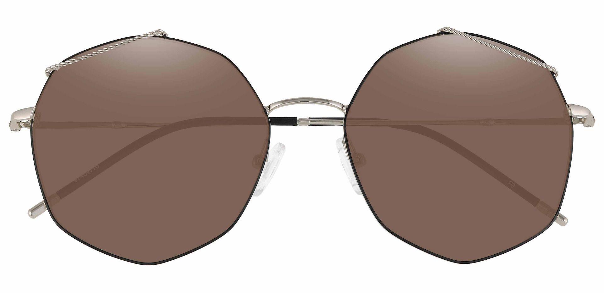 Tango Geometric Reading Sunglasses - Black Frame With Brown Lenses