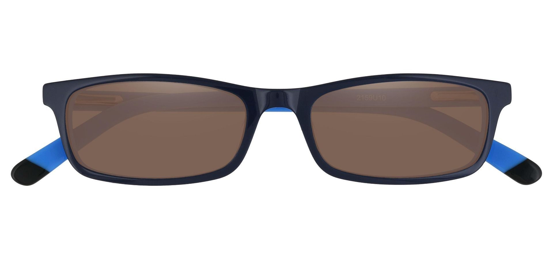Palisades Rectangle Reading Sunglasses - Blue Frame With Brown Lenses