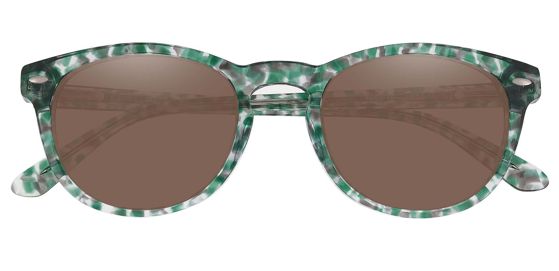 Laguna Oval Non-Rx Sunglasses - Green Frame With Brown Lenses