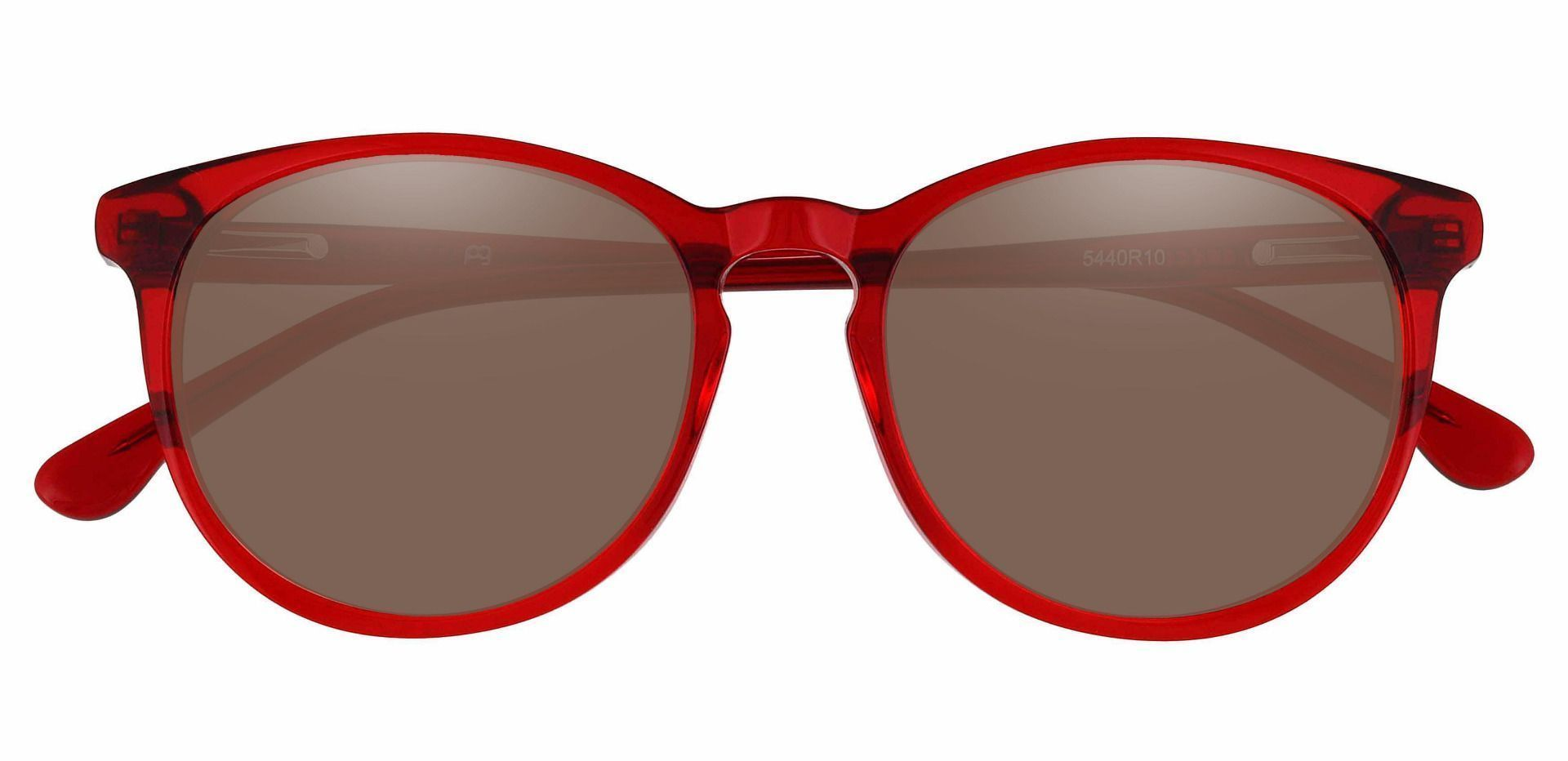 Carriage Round Progressive Sunglasses - Red Frame With Brown Lenses