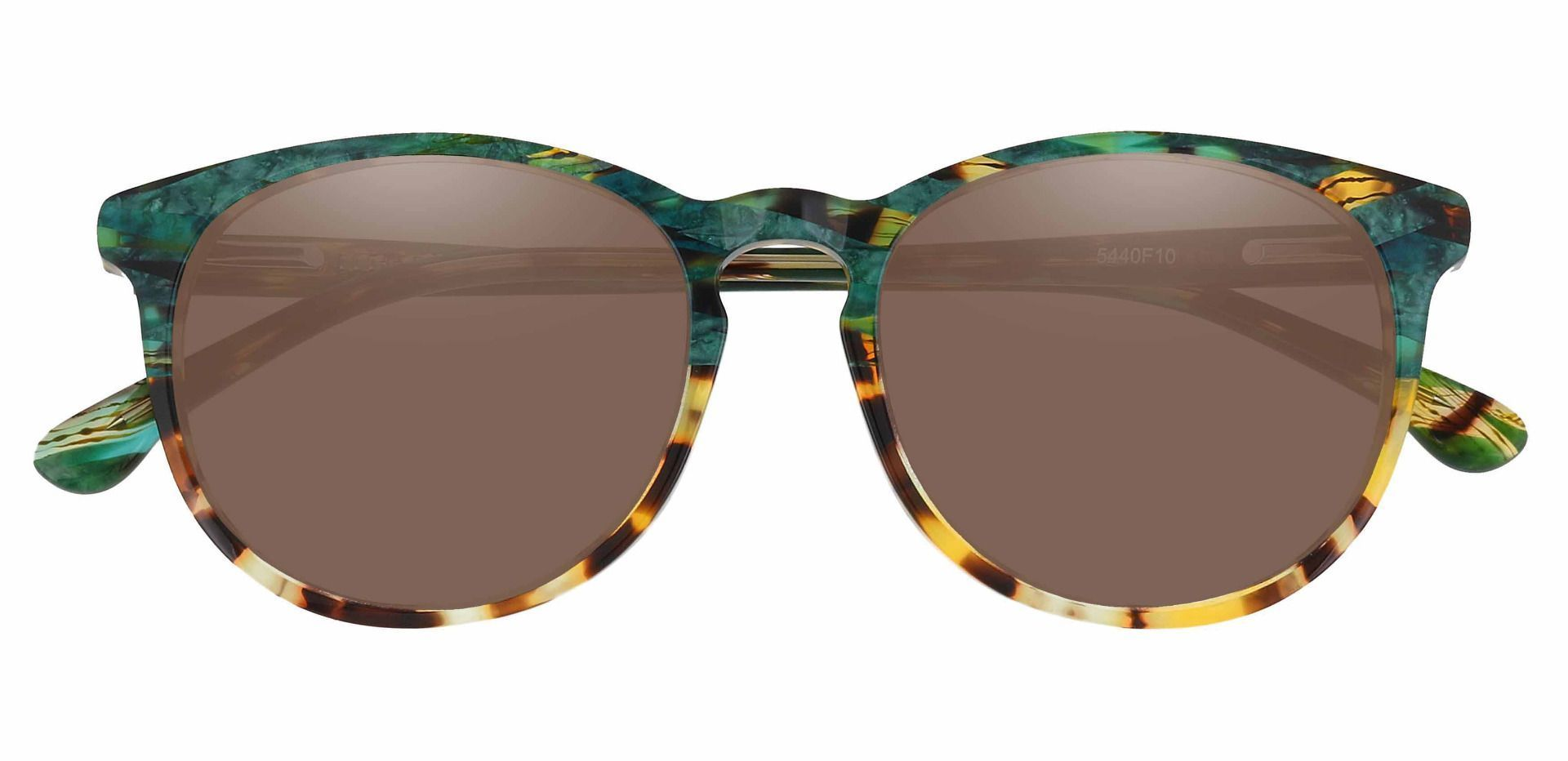 Carriage Round Non-Rx Sunglasses - Multi Color Frame With Brown Lenses