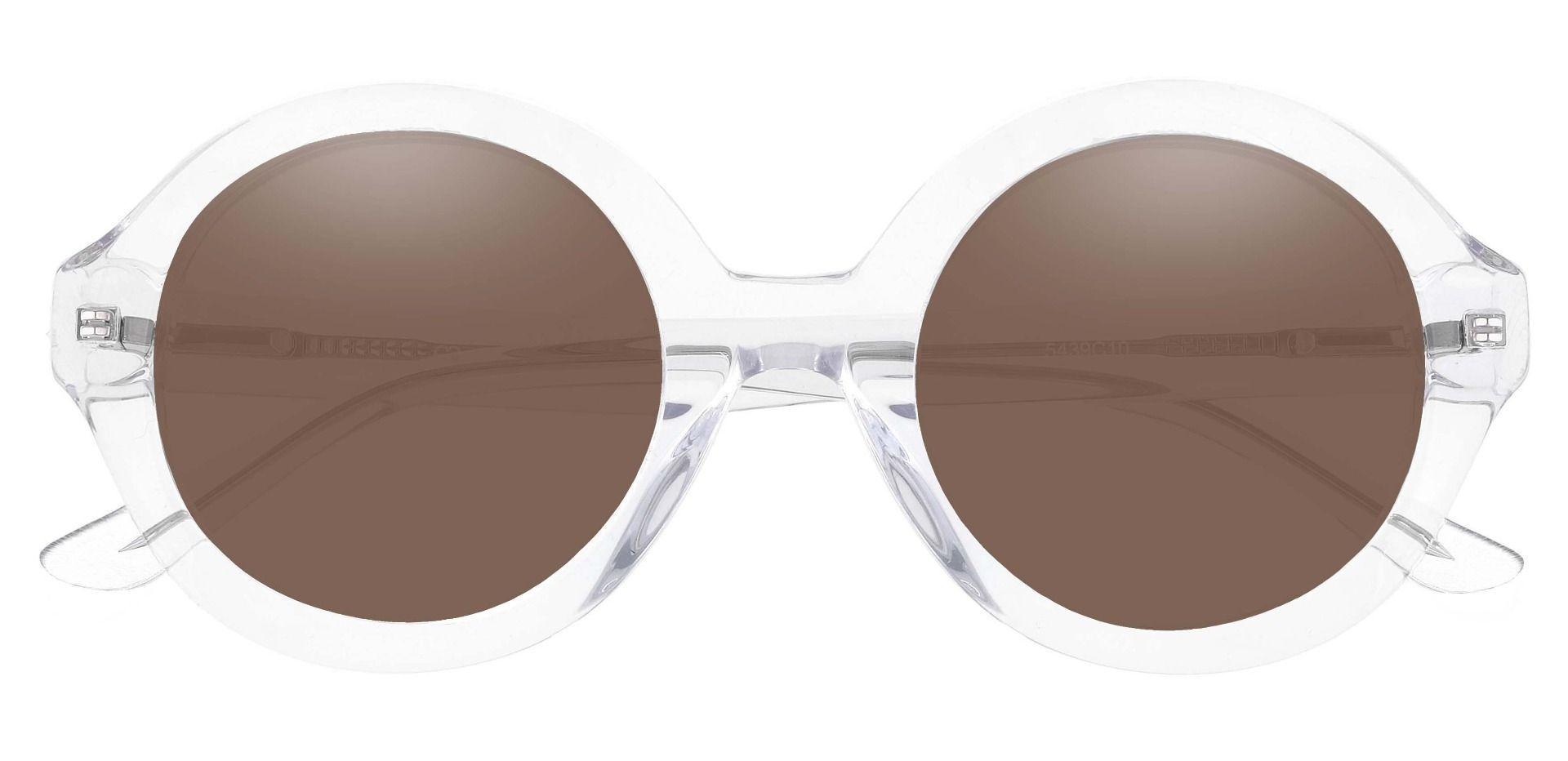 Clara Round Progressive Sunglasses - Clear Frame With Brown Lenses