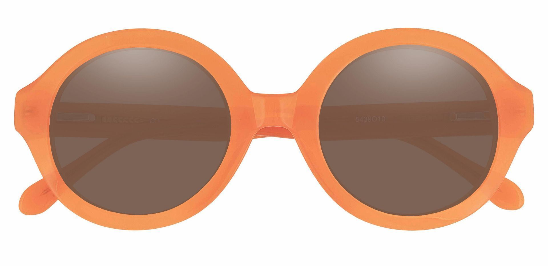 Clara Round Non-Rx Sunglasses - Orange Frame With Brown Lenses