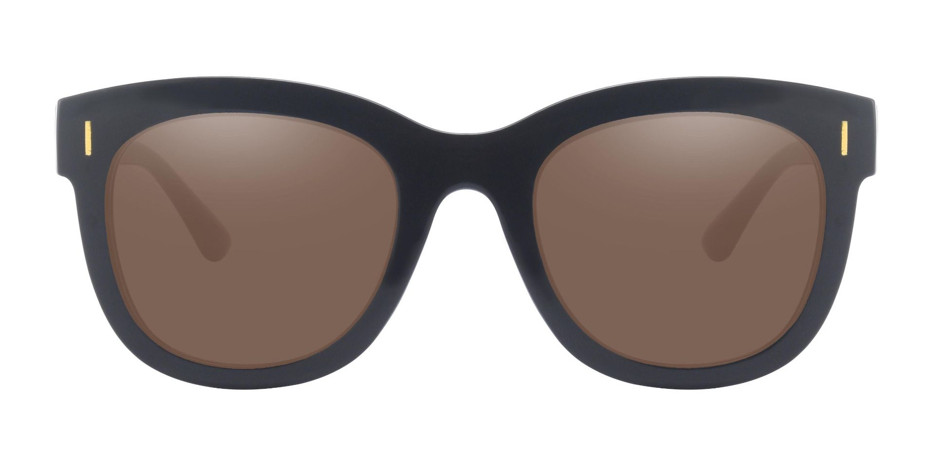 Saratoga Square Lined Bifocal Sunglasses - Black Frame With Brown Lenses