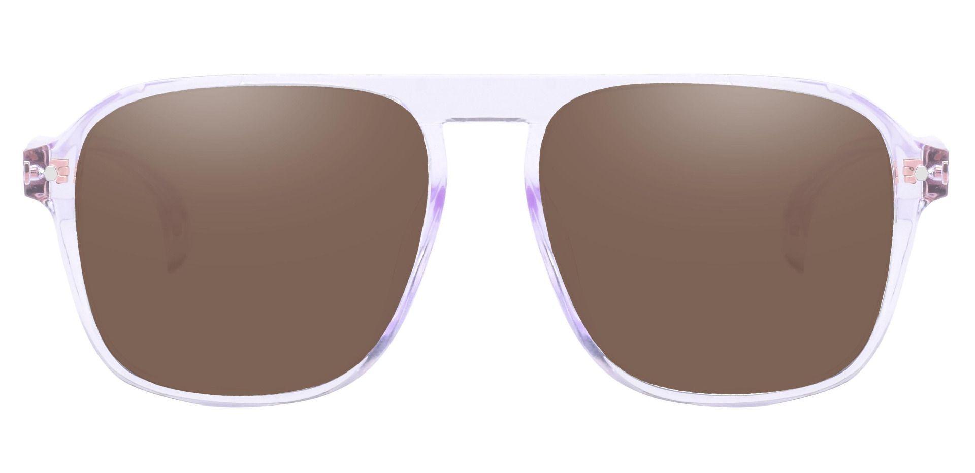 Gideon Aviator Prescription Sunglasses - Clear Frame With Brown Lenses