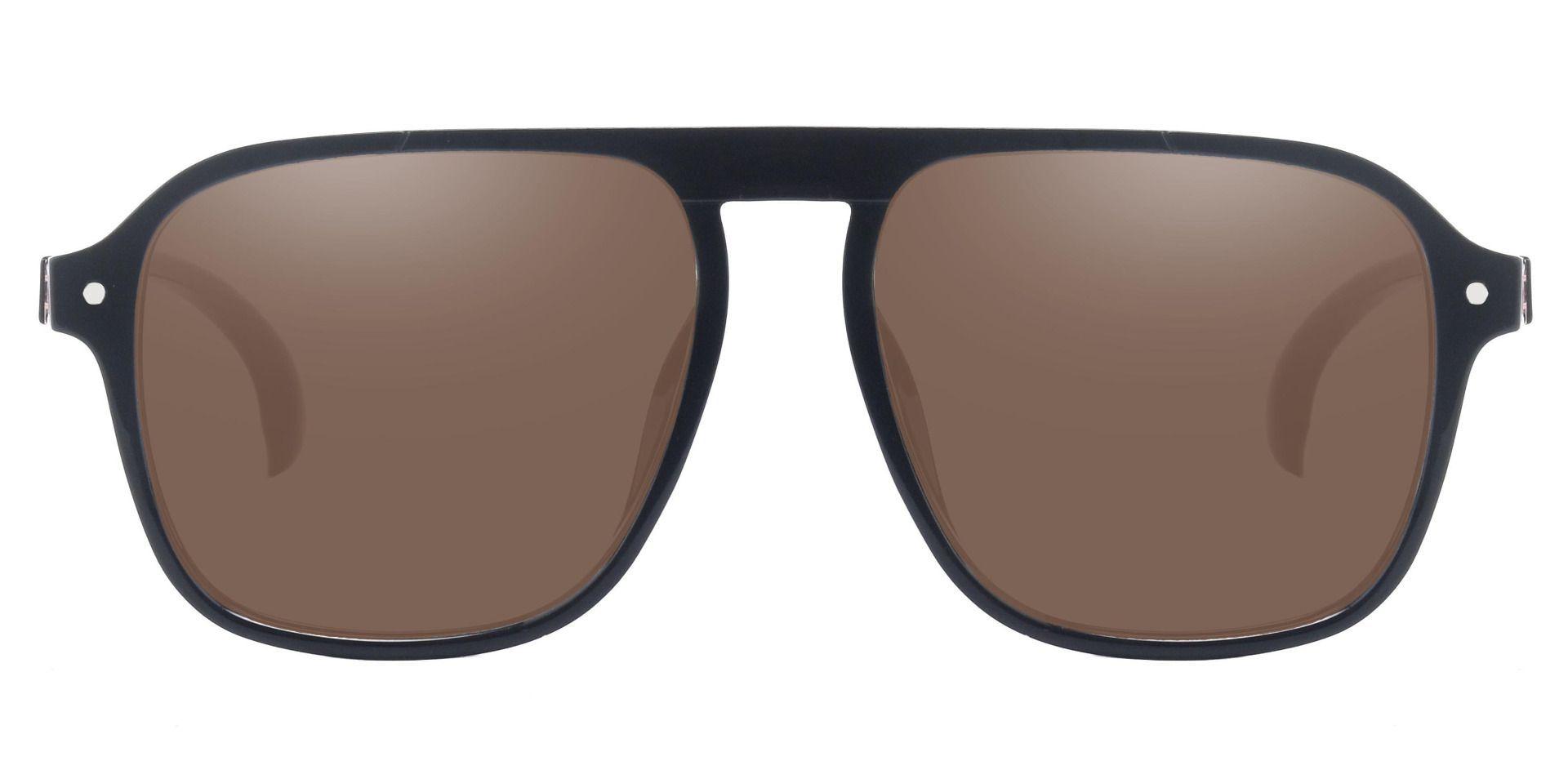 Gideon Aviator Reading Sunglasses - Black Frame With Brown Lenses