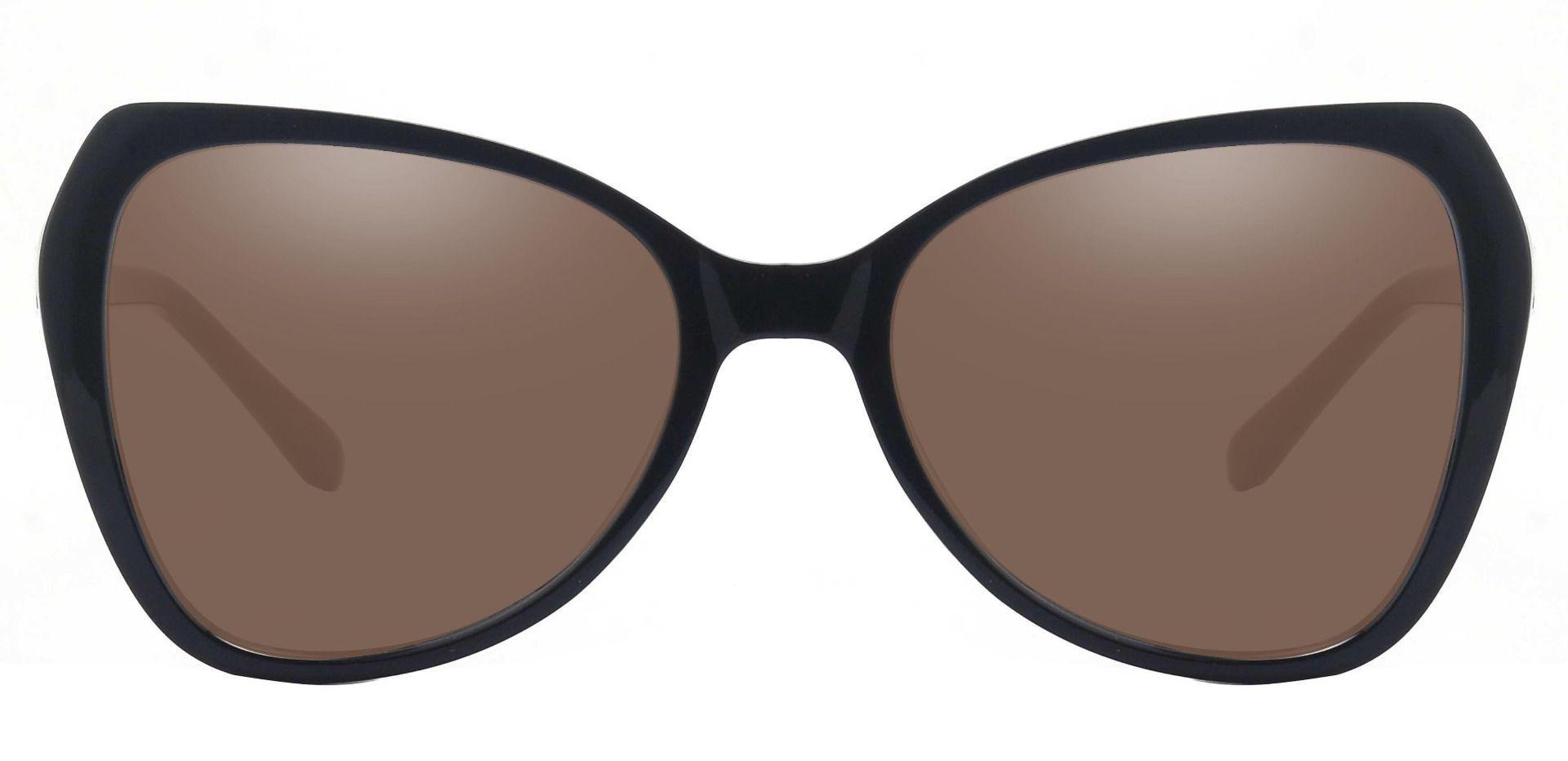 Kayla Geometric Reading Sunglasses - Black Frame With Brown Lenses