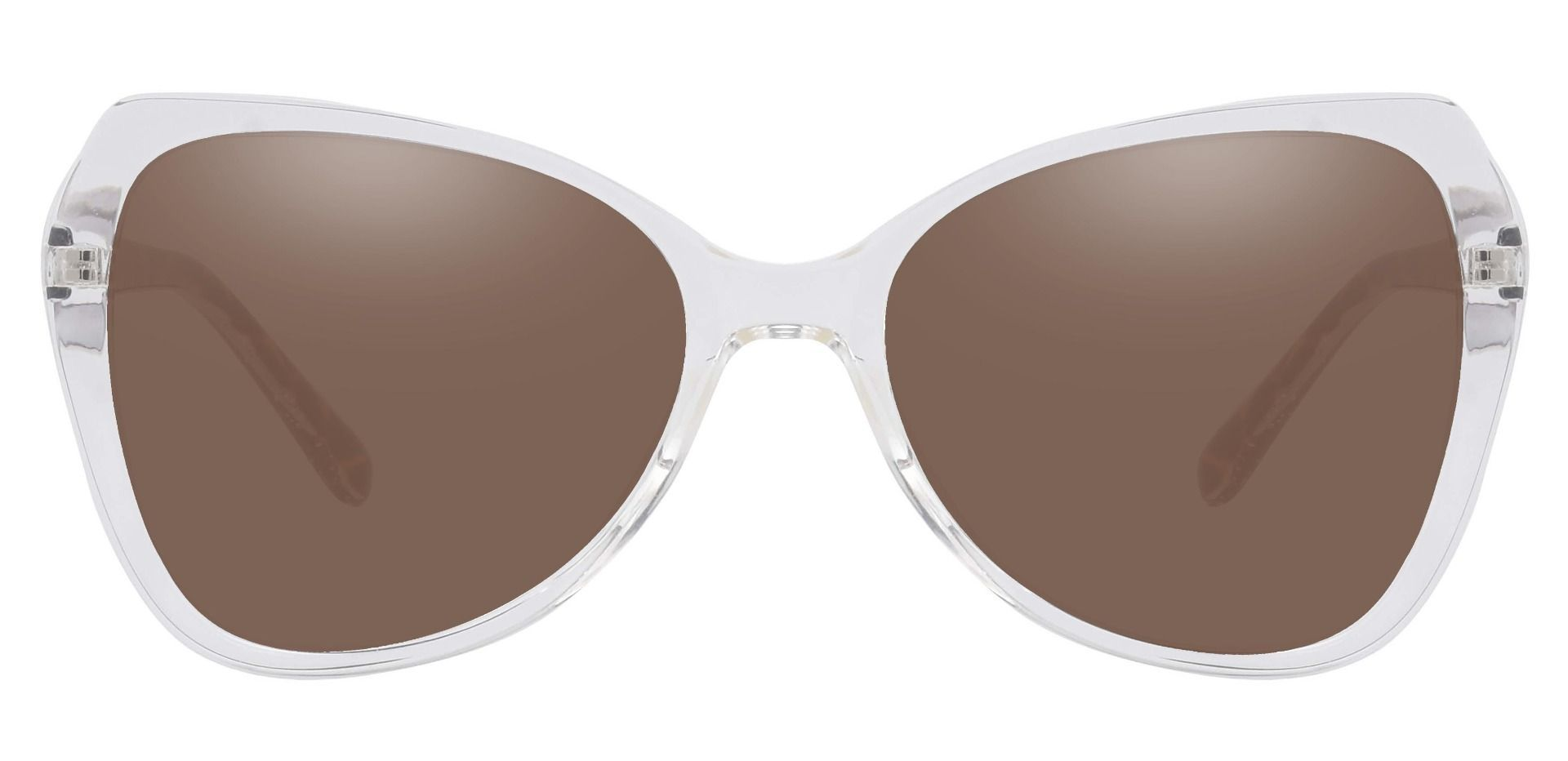 Kayla Geometric Reading Sunglasses - Clear Frame With Brown Lenses