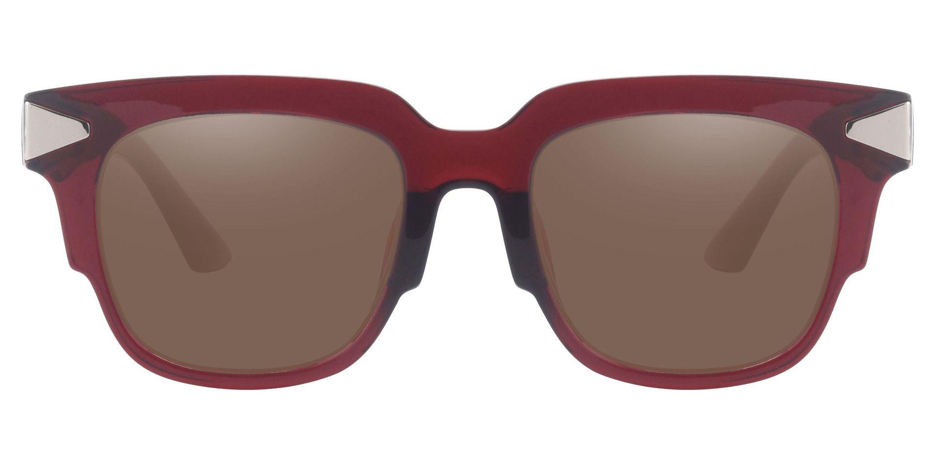 Ardent Square Progressive Sunglasses - Red Frame With Brown Lenses