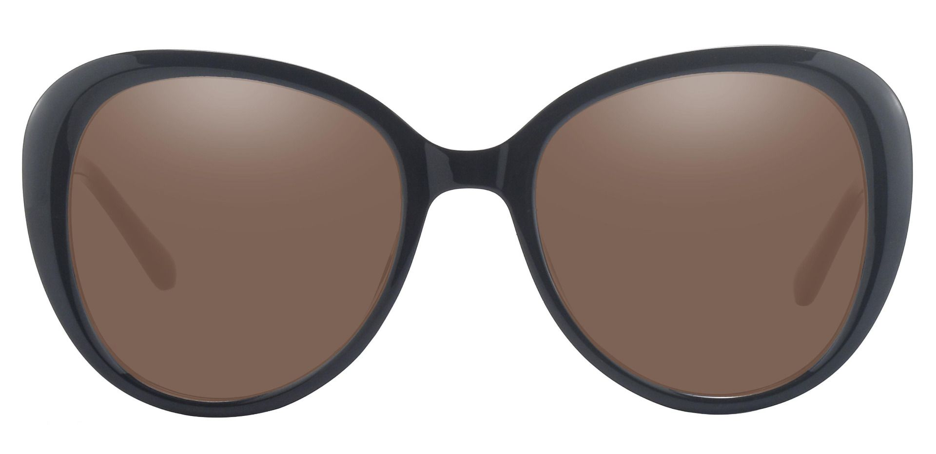 Sheridan Oval Prescription Sunglasses - Black Frame With Brown Lenses