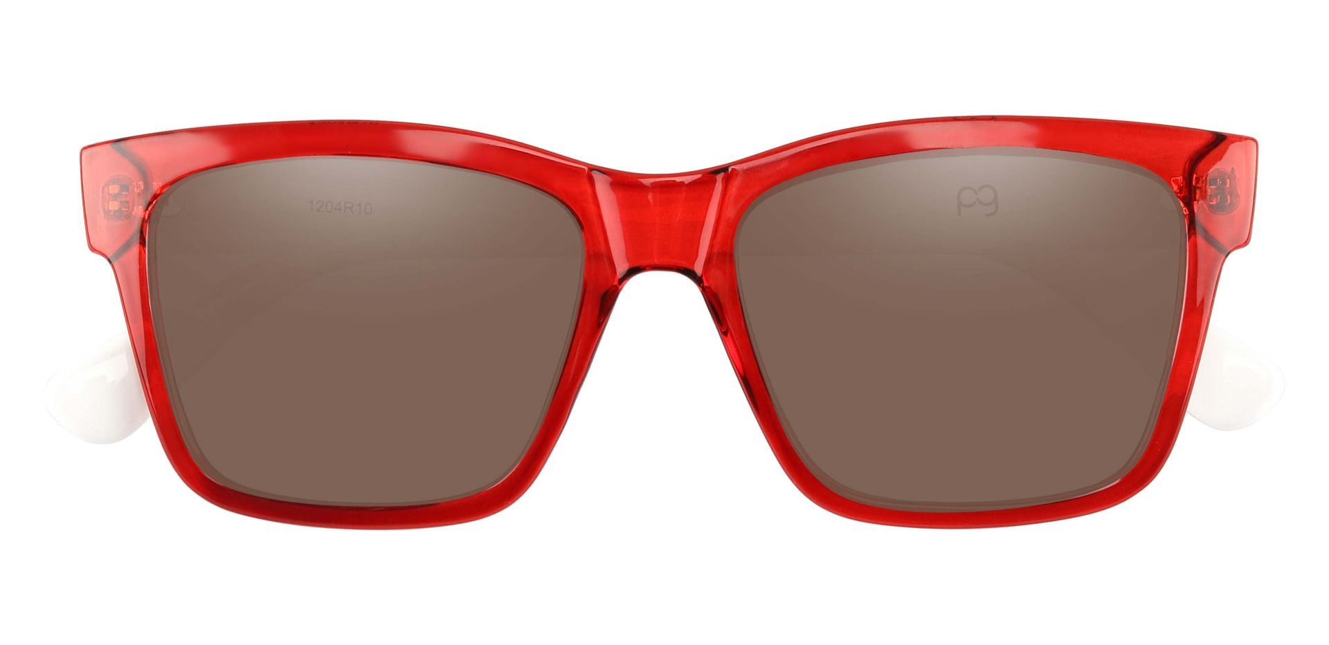 Brinley Square Progressive Sunglasses - Red Frame With Brown Lenses