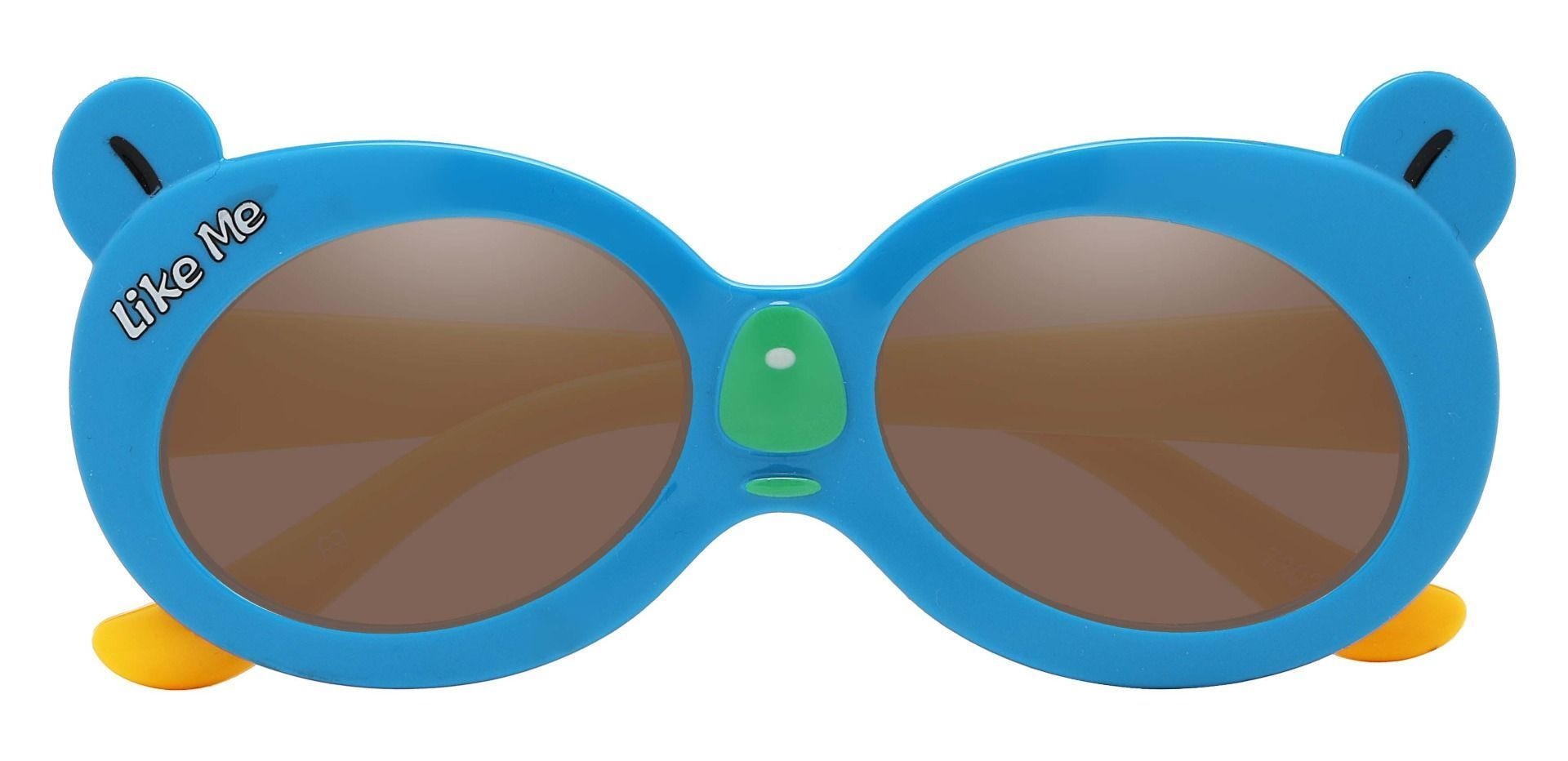 Tito Oval Single Vision Sunglasses - Blue Frame With Brown Lenses