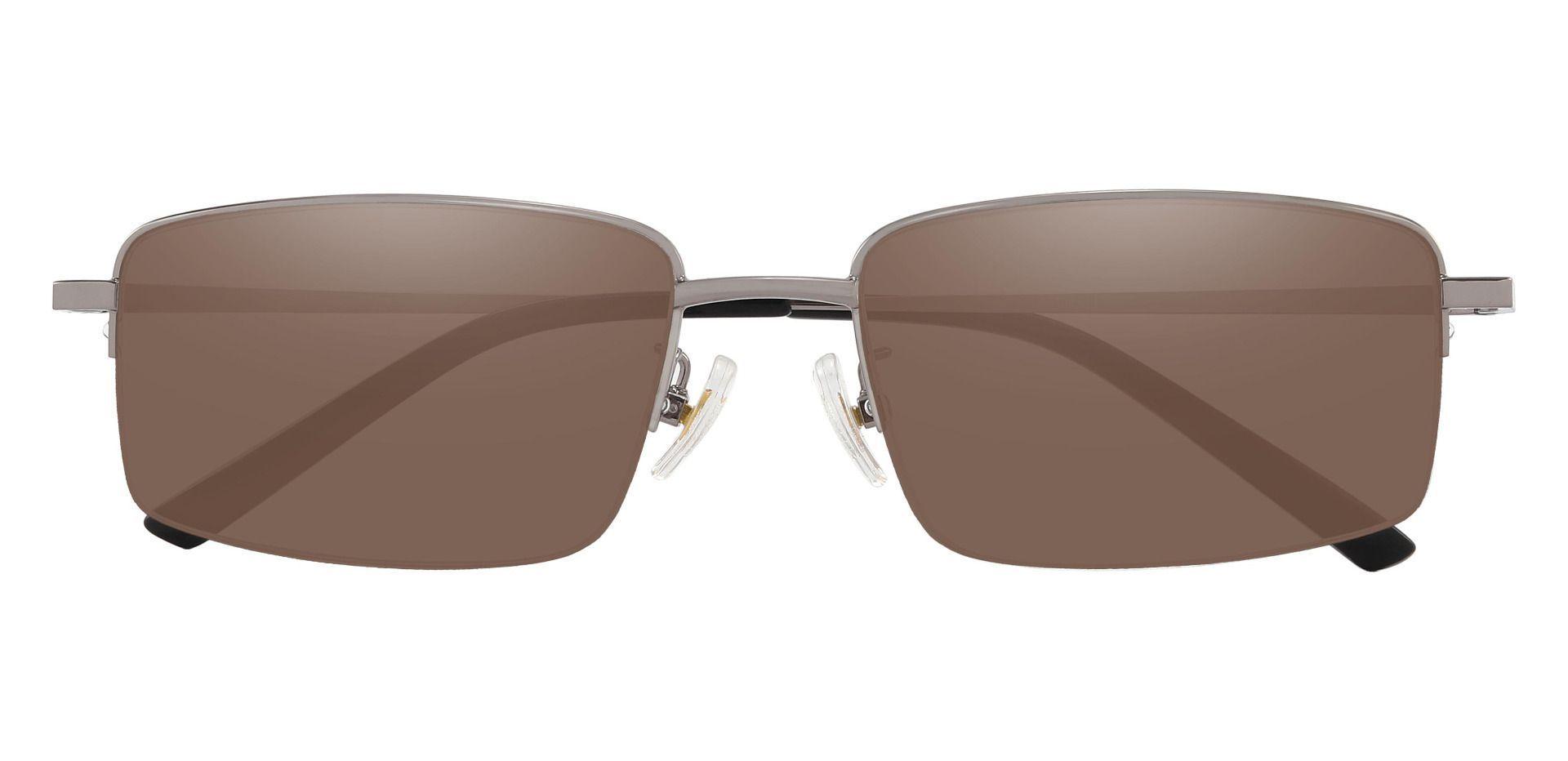 Wayne Rectangle Prescription Sunglasses - Gray Frame With Brown Lenses