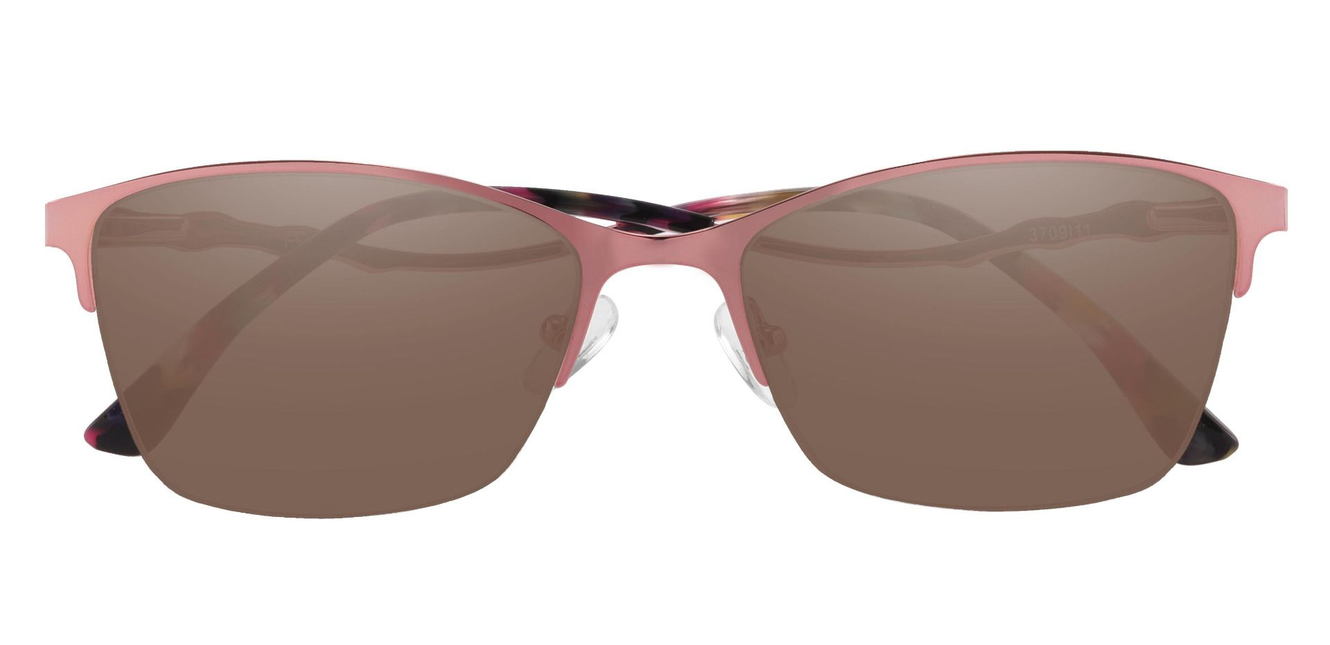 Milan Browline Prescription Sunglasses - Pink Frame With Brown Lenses
