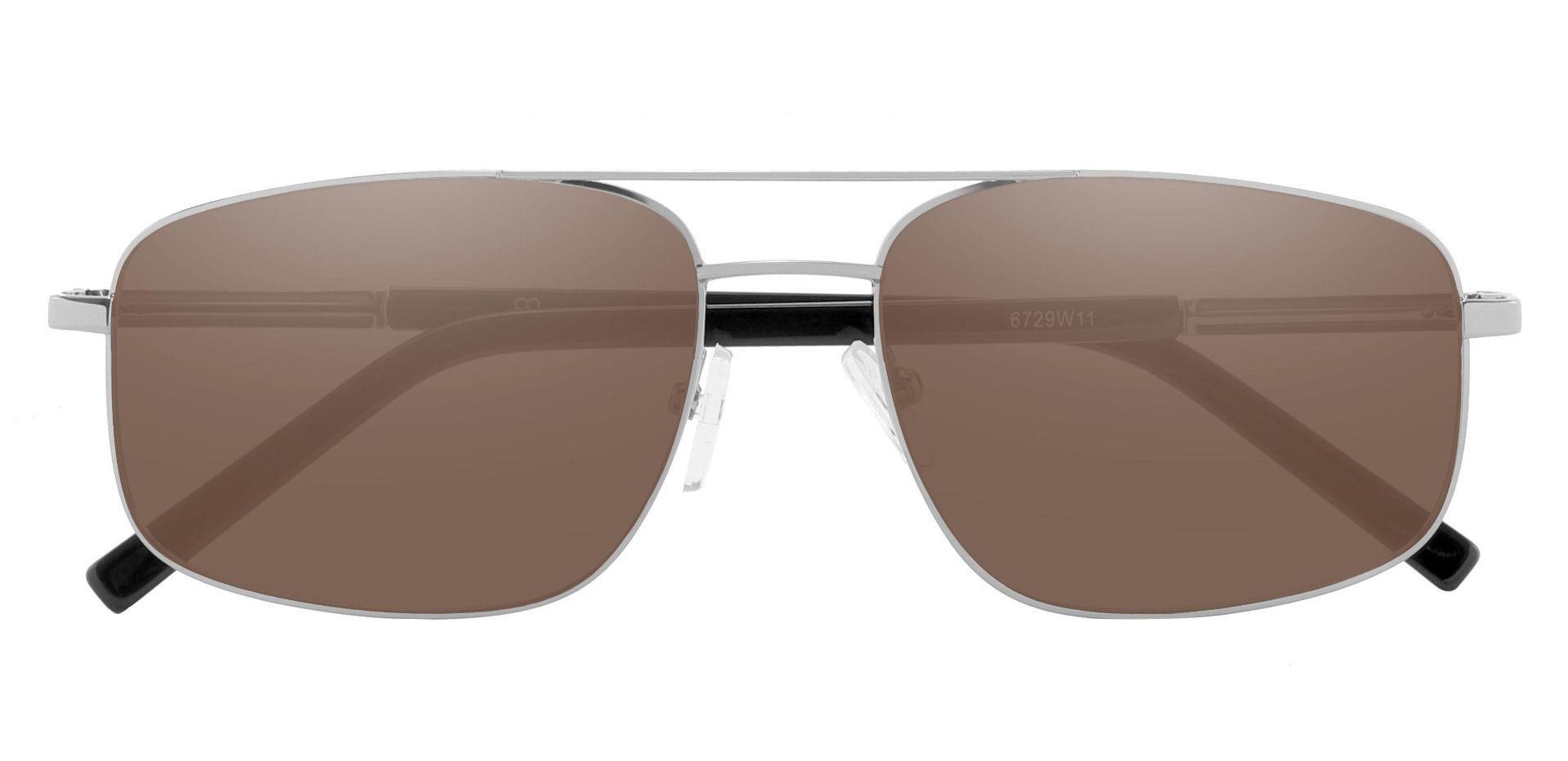 Davenport Aviator Prescription Sunglasses - Silver Frame With Brown Lenses