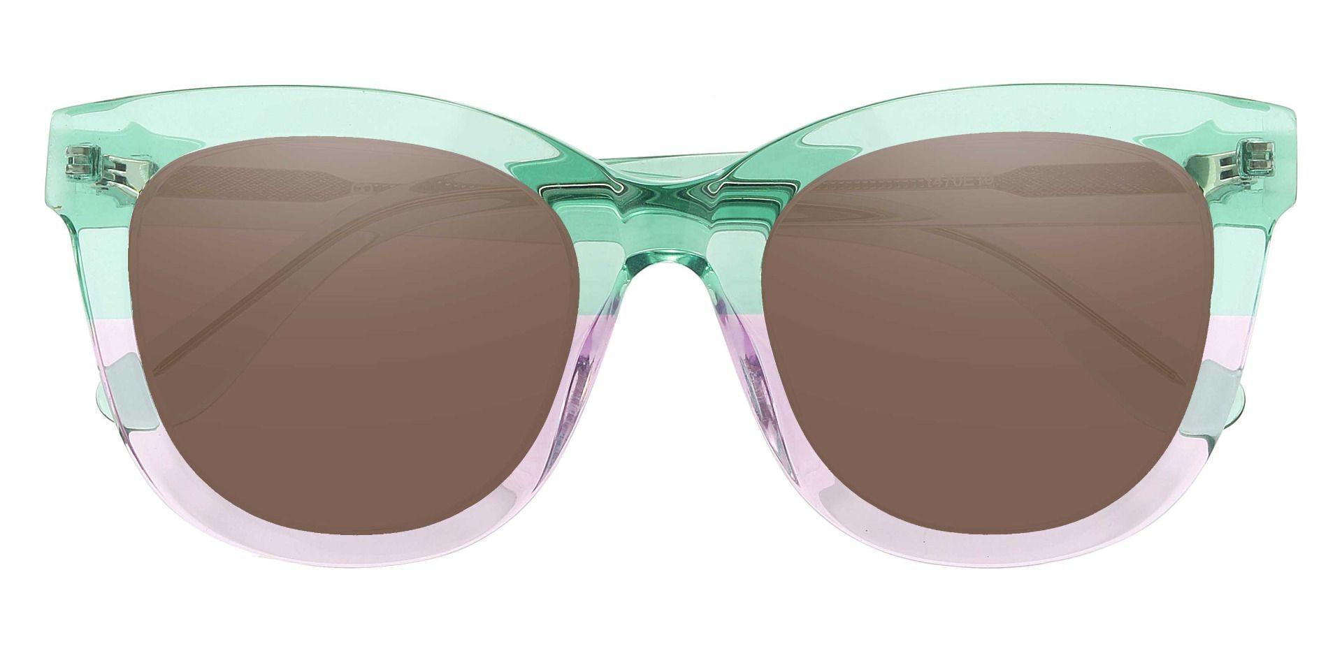 Delphi Square Prescription Sunglasses - Green Frame With Brown Lenses