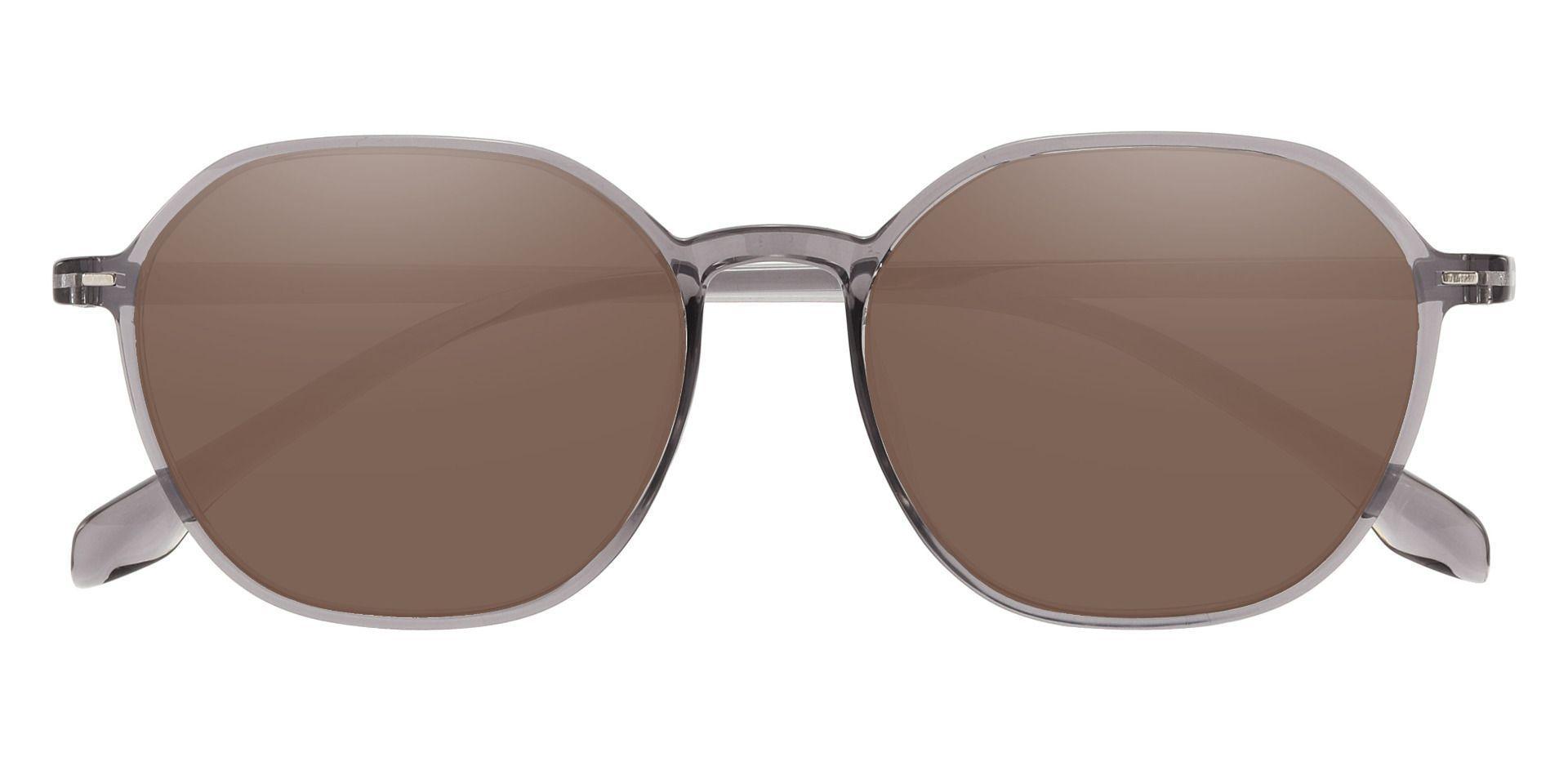 Detroit Geometric Prescription Sunglasses - Gray Frame With Brown Lenses