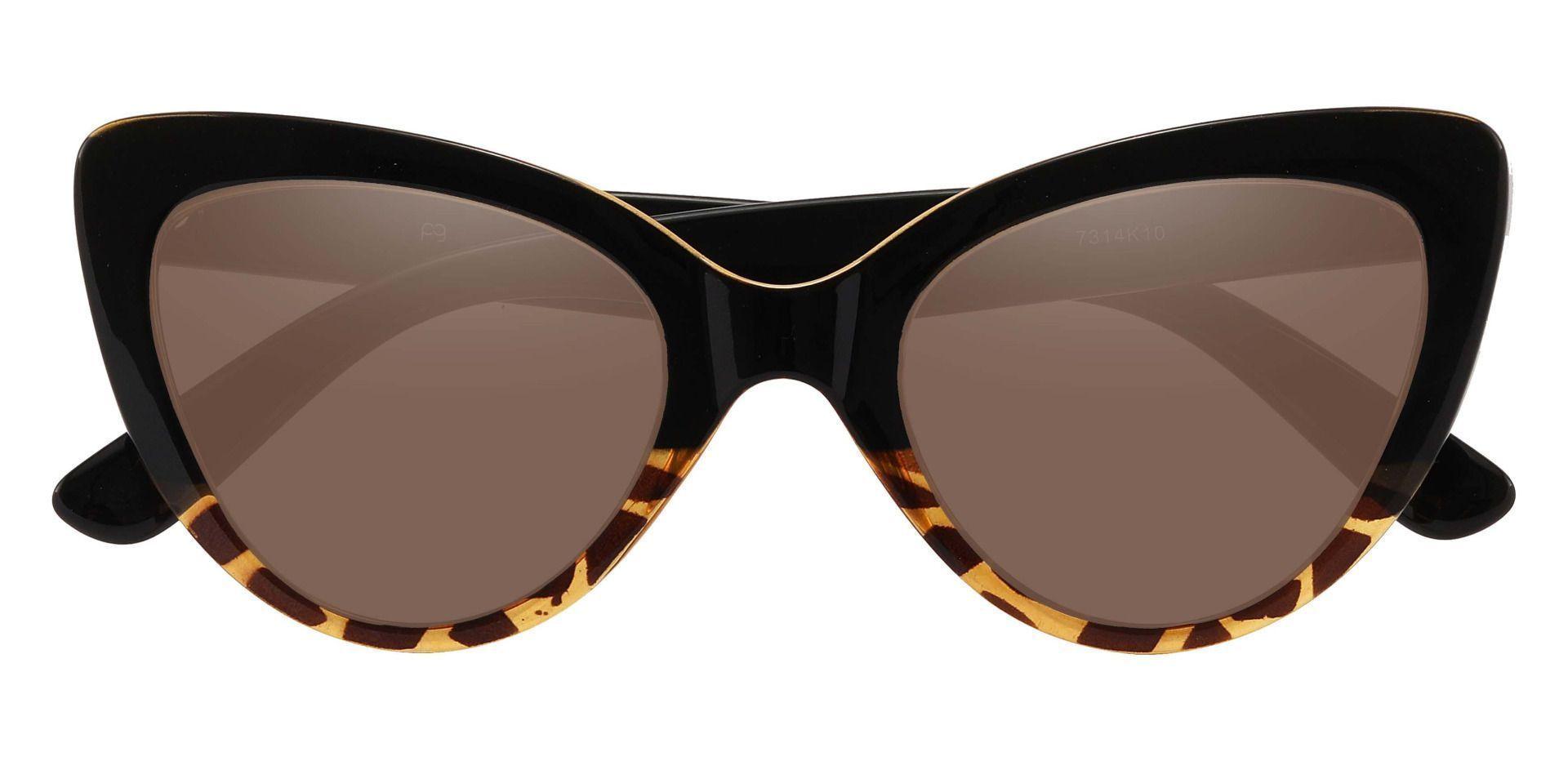 Melinda Cat Eye Prescription Sunglasses - Black Frame With Brown Lenses