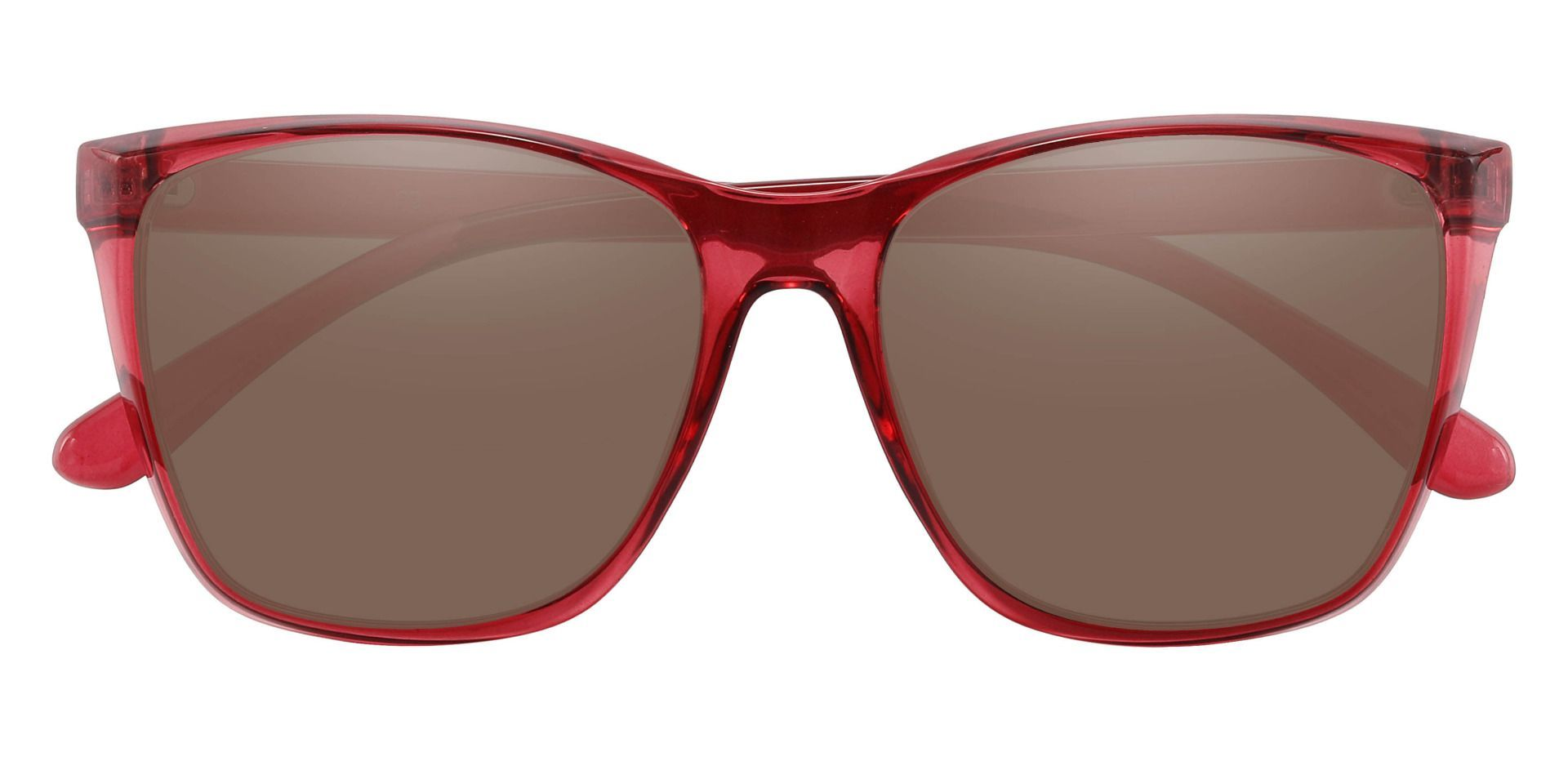 Taryn Square Prescription Sunglasses - Red Frame With Brown Lenses