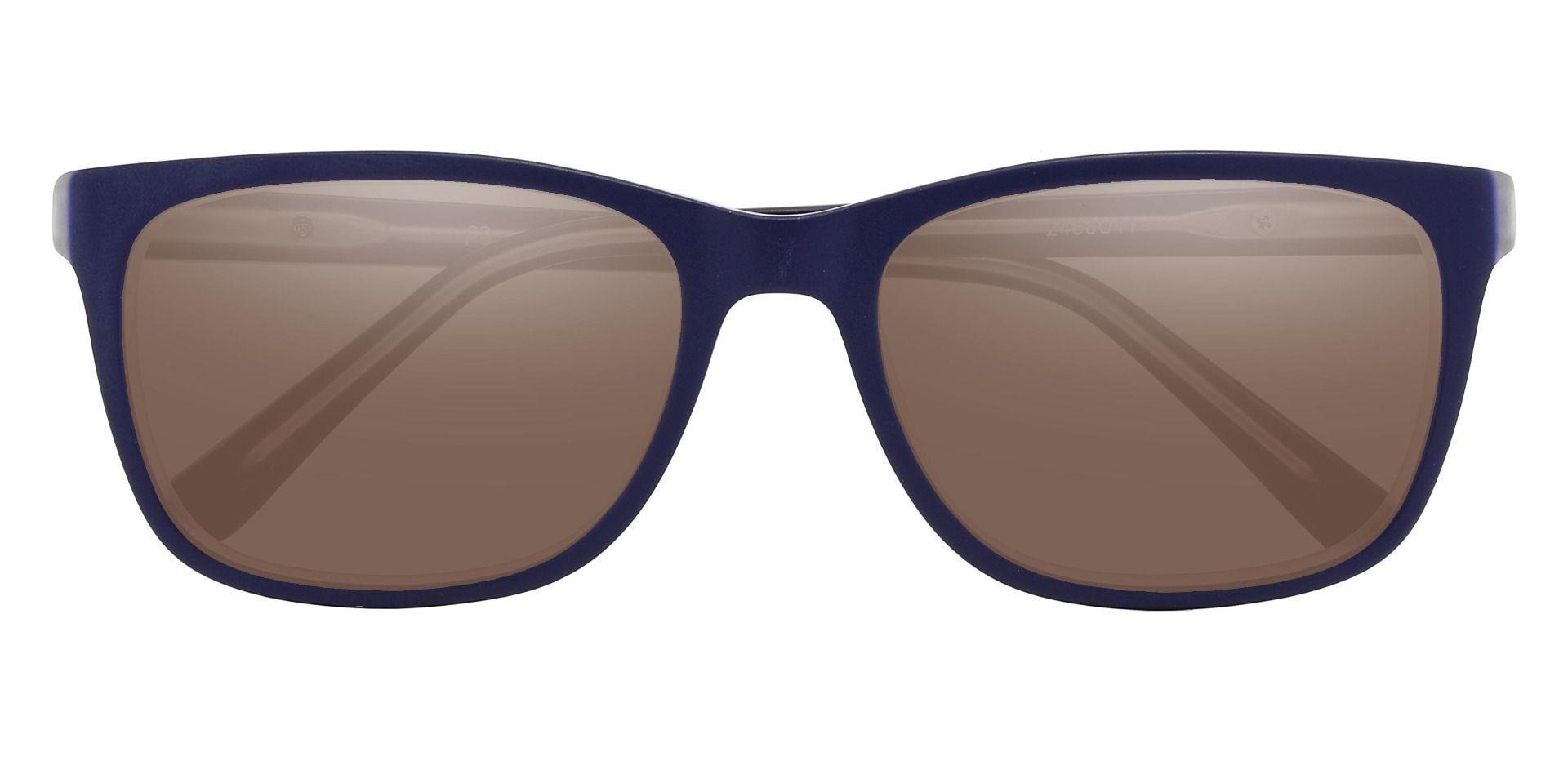 Lodge Rectangle Prescription Sunglasses - Blue Frame With Brown Lenses