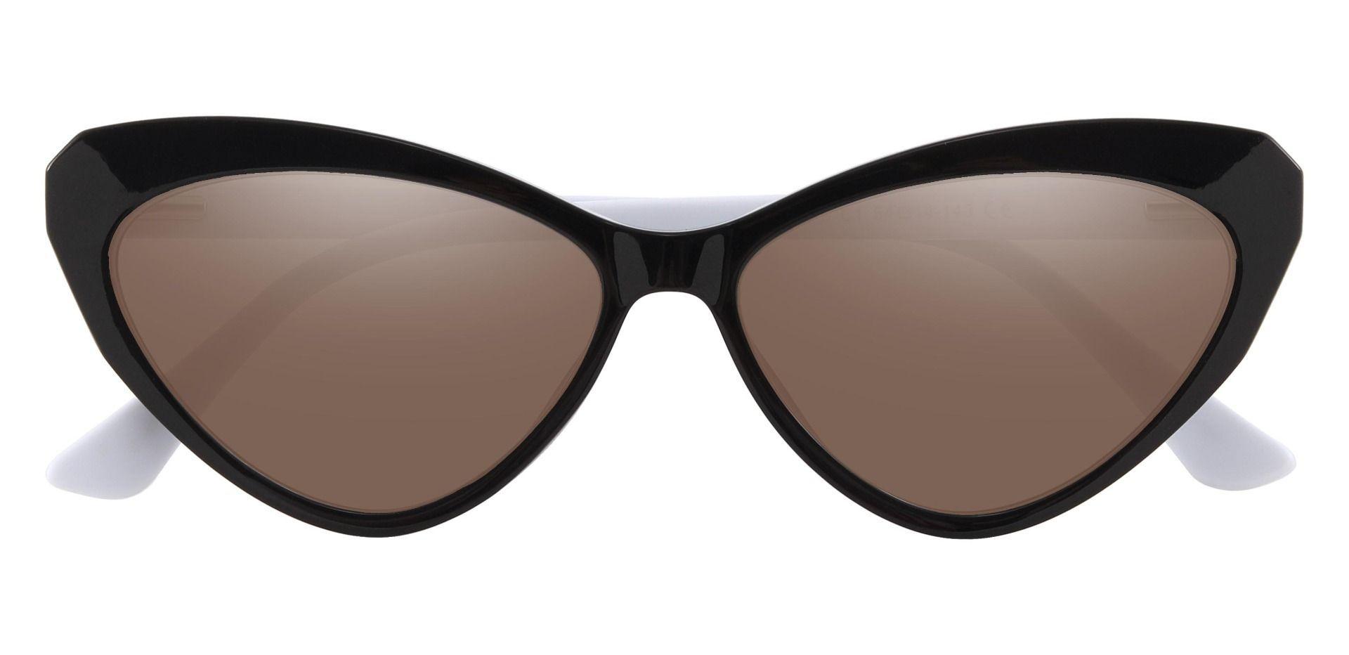 Clovis Cat Eye Prescription Sunglasses - Black Frame With Brown Lenses