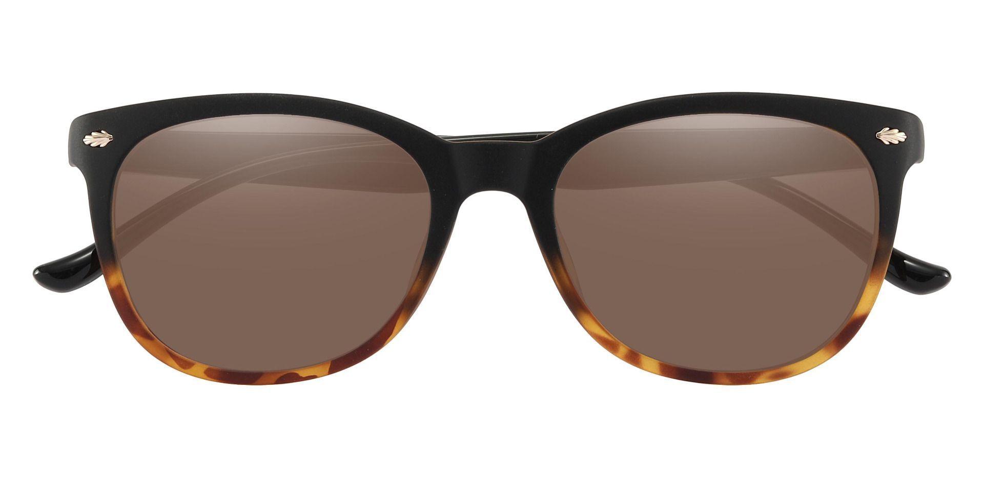 Pavilion Square Prescription Sunglasses - Black Frame With Brown Lenses