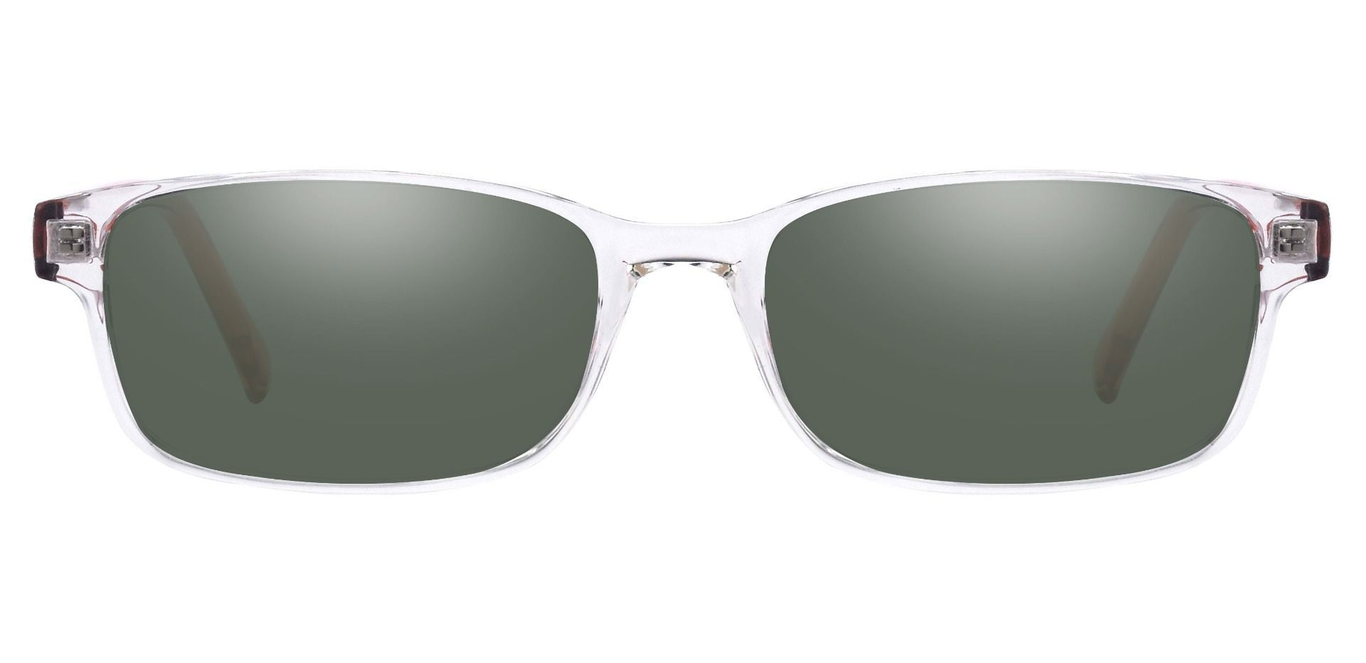 Layton Rectangle Prescription Sunglasses - Clear Frame With Green Lenses